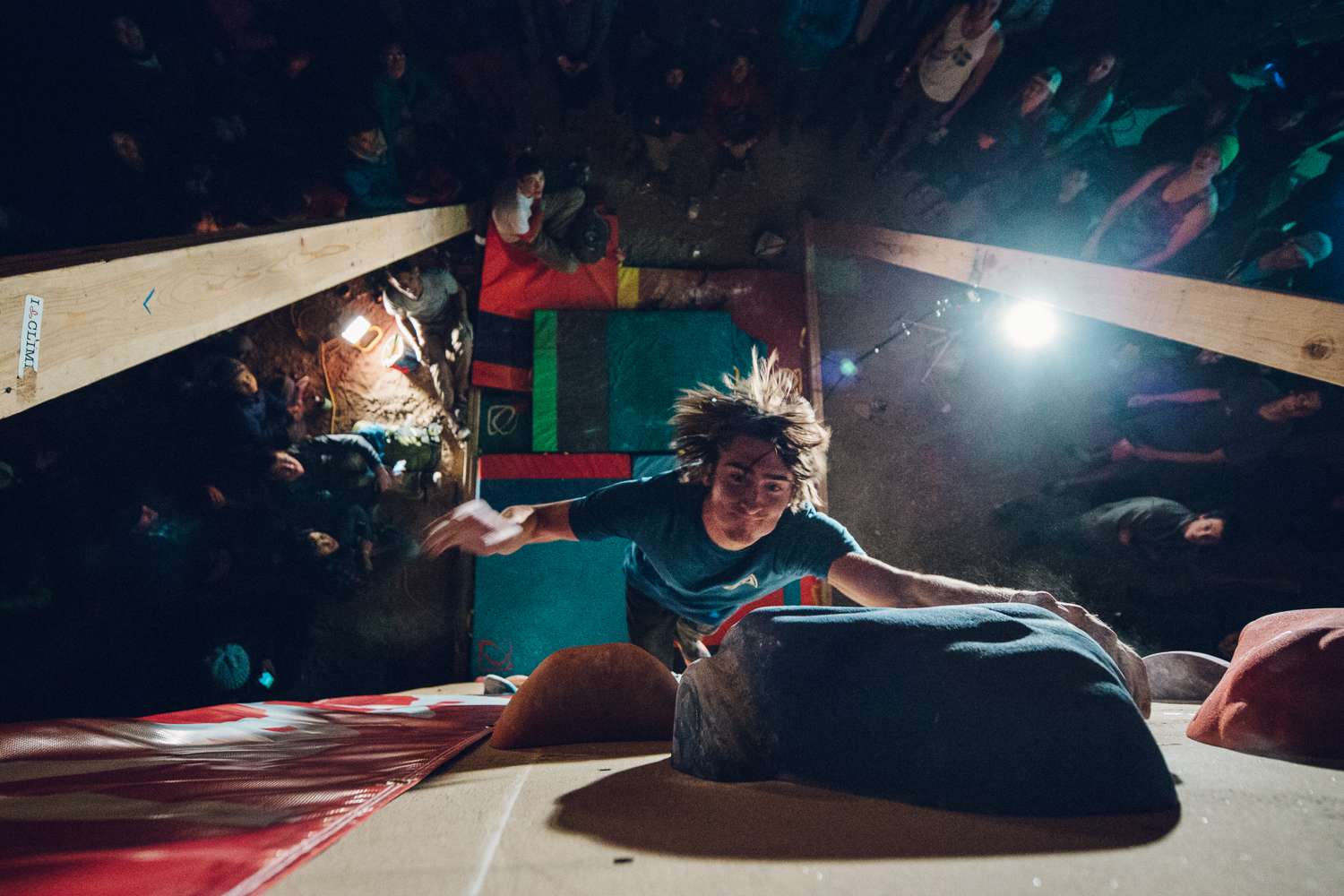 Alex McIntyre sticking the final hold to win the Dyno-Competition of the 22nd Annual Rock Rodeo of 2015 put on by the American Alpine Club. Michael Lim Photography 2015 ©