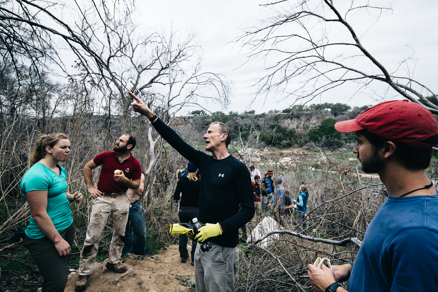 """Tommy Blackwell and the rest of the Central Texas Mountaineer Volunteer group doing clean up work on, """"It's My Park Day,"""" at Reimer's Ranch, Texas."""