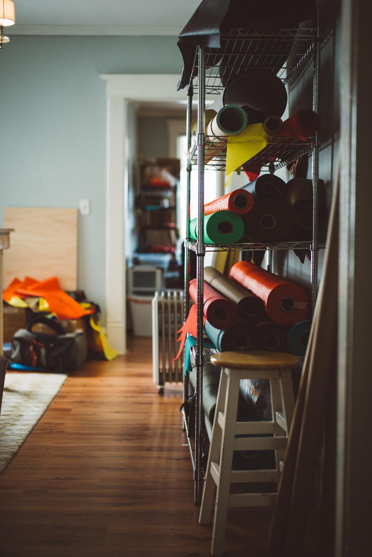Granola's fabric shelf.