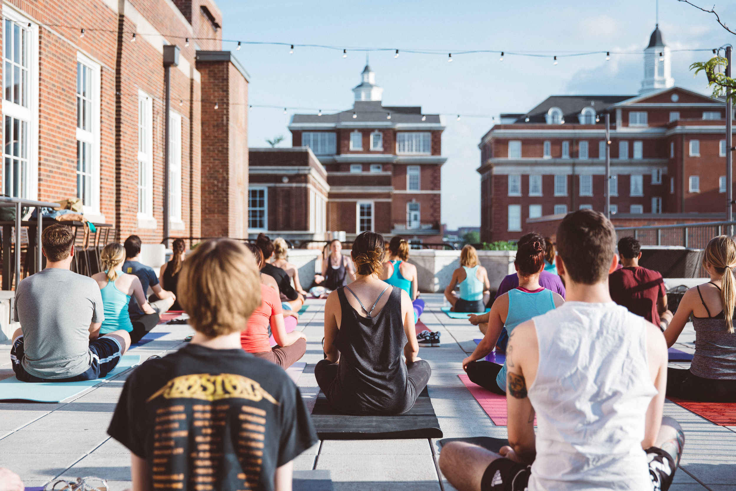 The rooftop at Climb So iLL in St. Louis, Missouri. Bending & Boozing Yoga session.