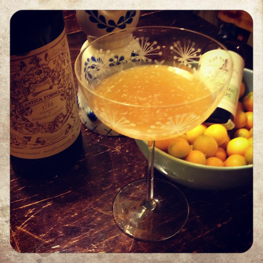 Dubbed the 'Beatrice'.  A tequila, vermouth & kumquat cocktail.  YUM