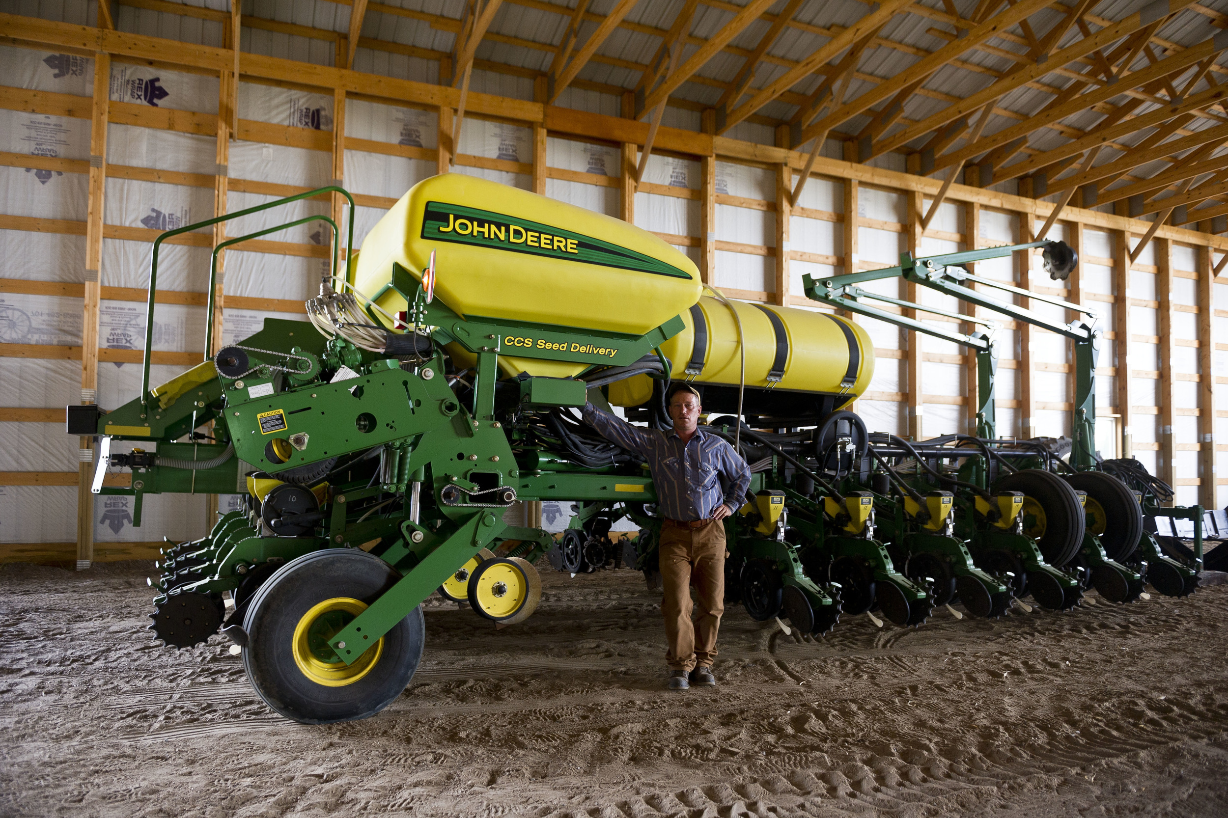 Brian with his harvesting equipment near Washburn, ND.