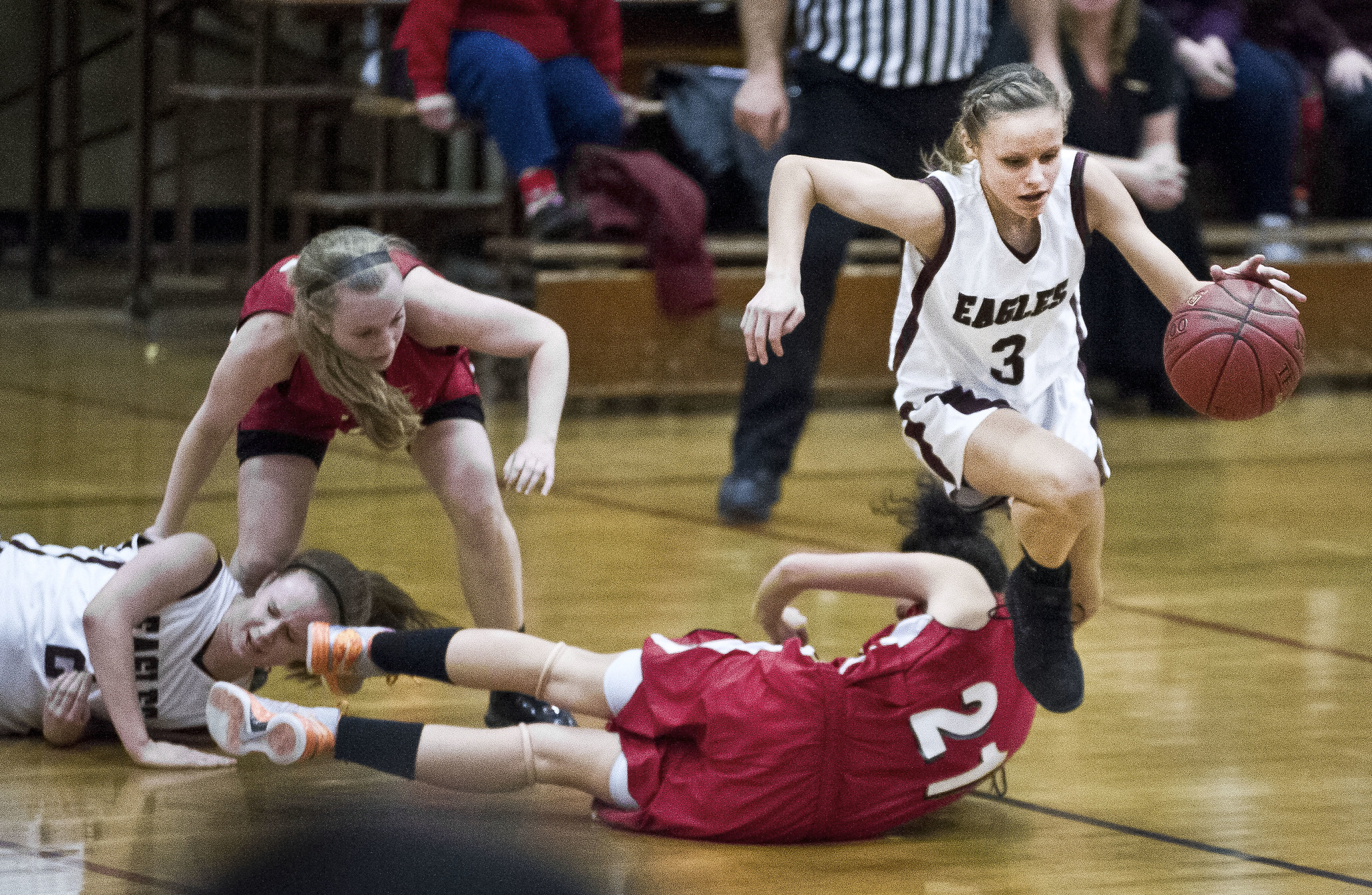 Easthampton's Courtney Urban breaks away from trouble against visiting Athol in Easthampton, Massachusetts.