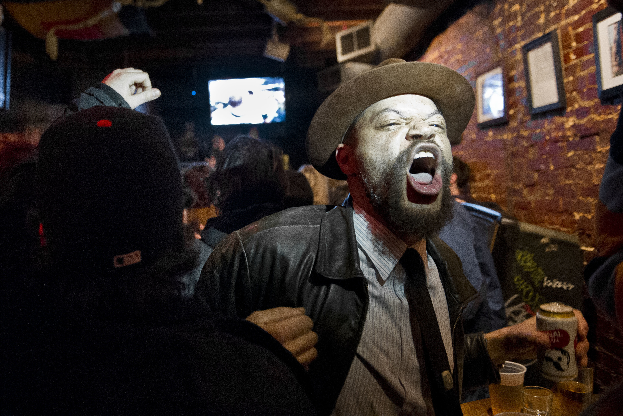"""Sweet"" celebrates Baltimore's Superbowl victory over San Francisco at the Mount Royal Tavern."