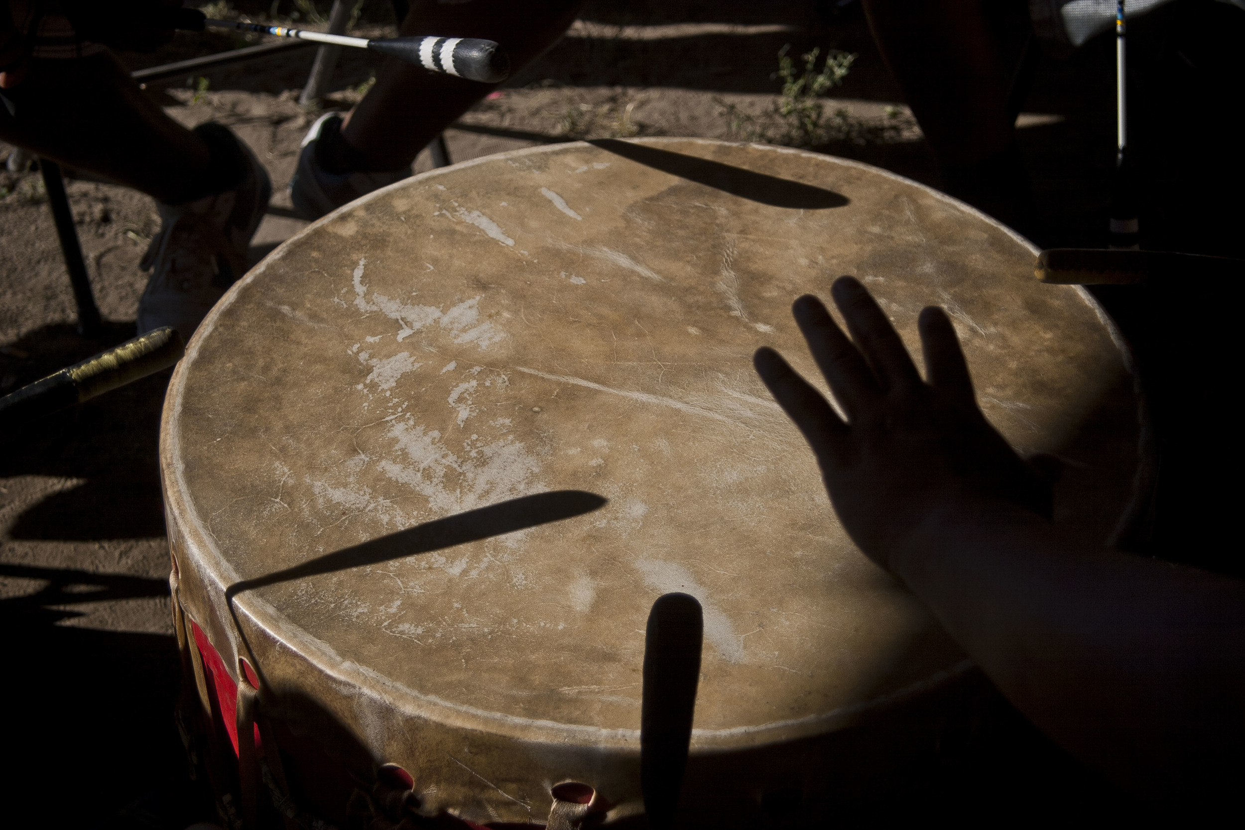 Hand and drum.