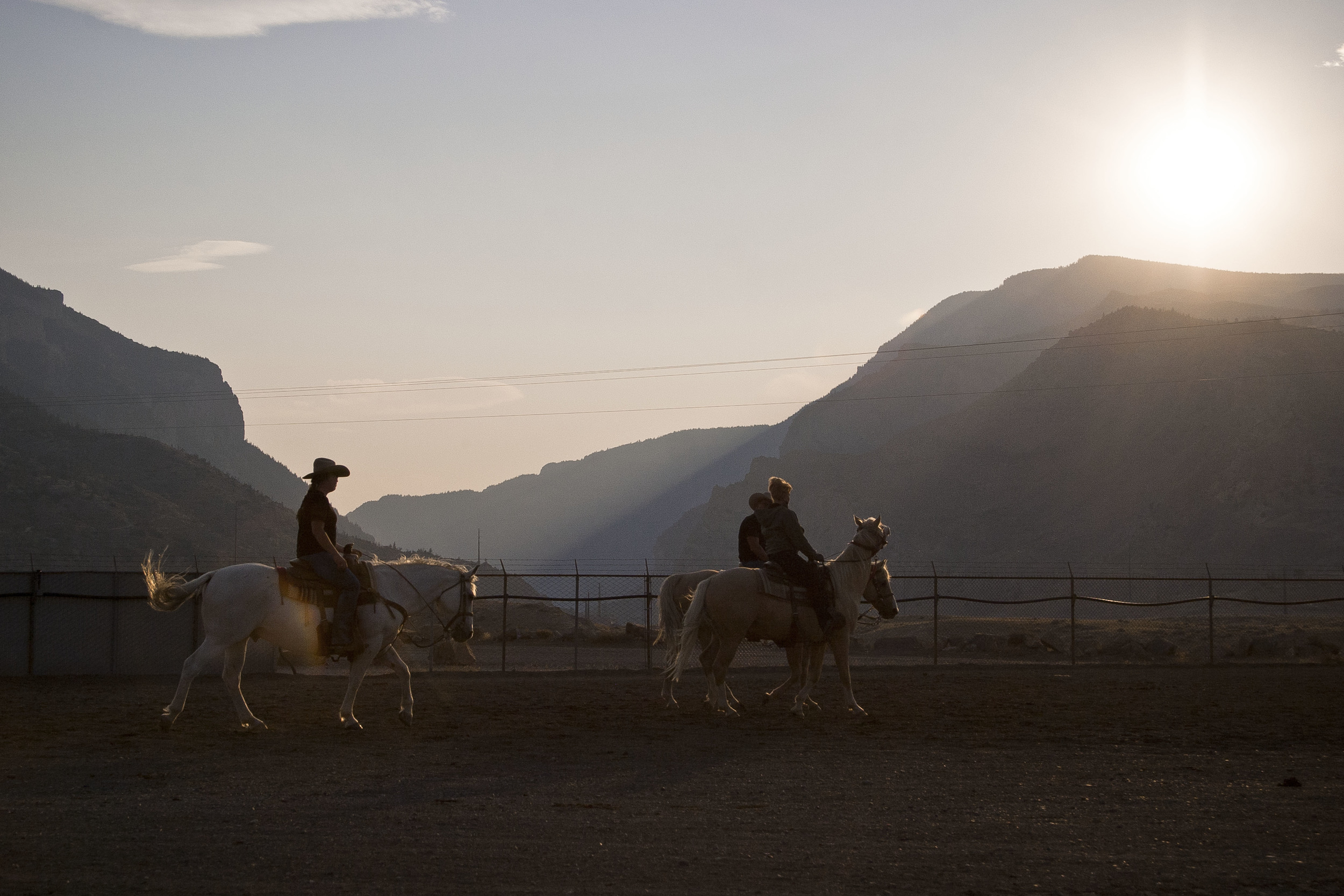 Sunset at the Cody Rodeo in Cody, Wyoming.