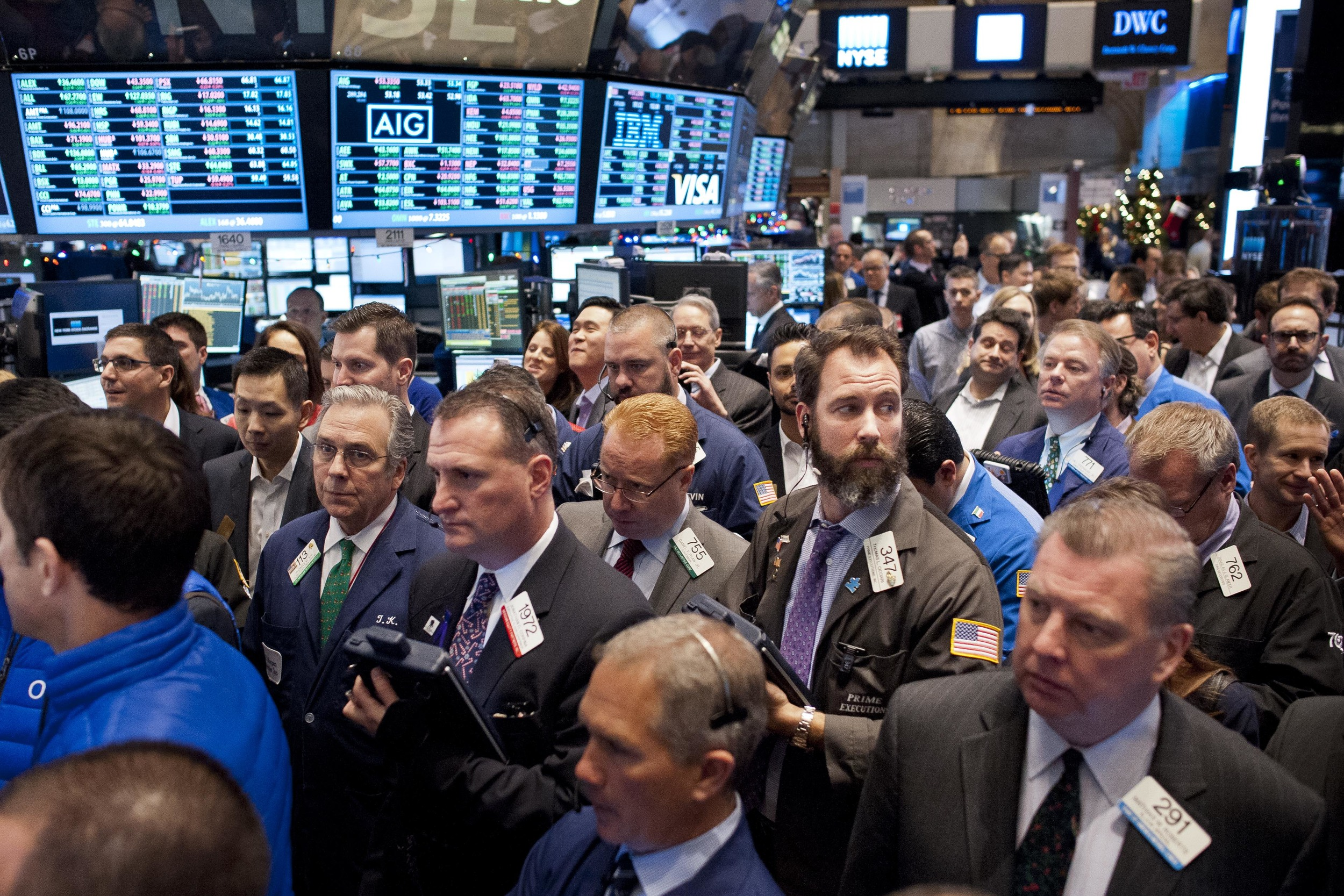 The NYSE floor slowly floods as OnDeck begins its initial public offering on December 17, 2014.