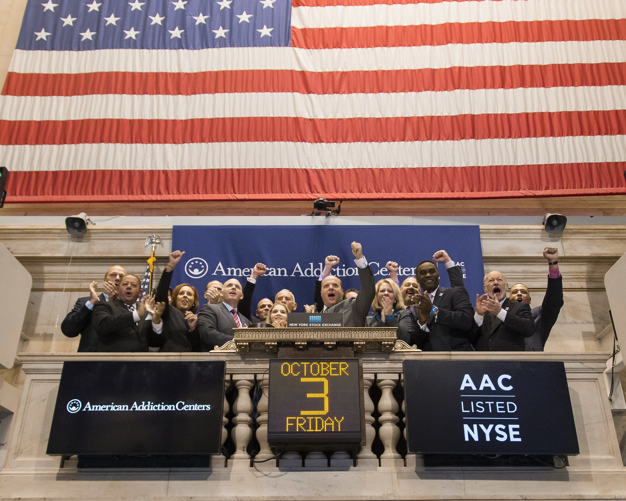 Employees and representatives of American Addiction Centers ring the Closing Bell. In addition to listed companies and celebrity appearances, the events schedule also includes non-profit and charitable organizations.