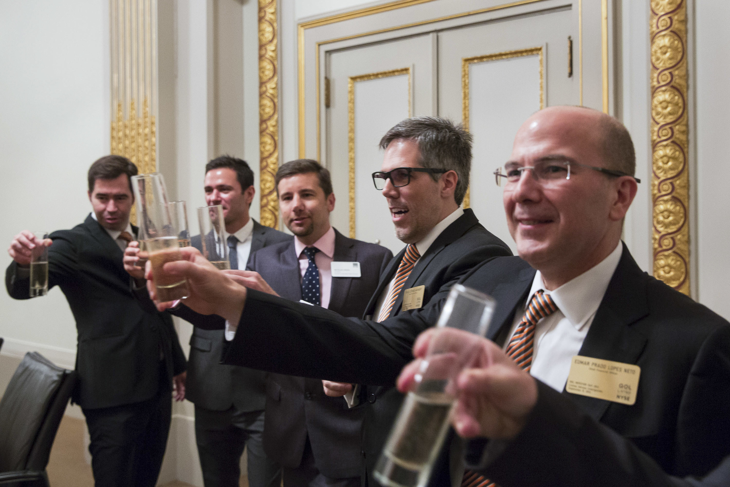 Early morning champagne to celebrate an IPO.