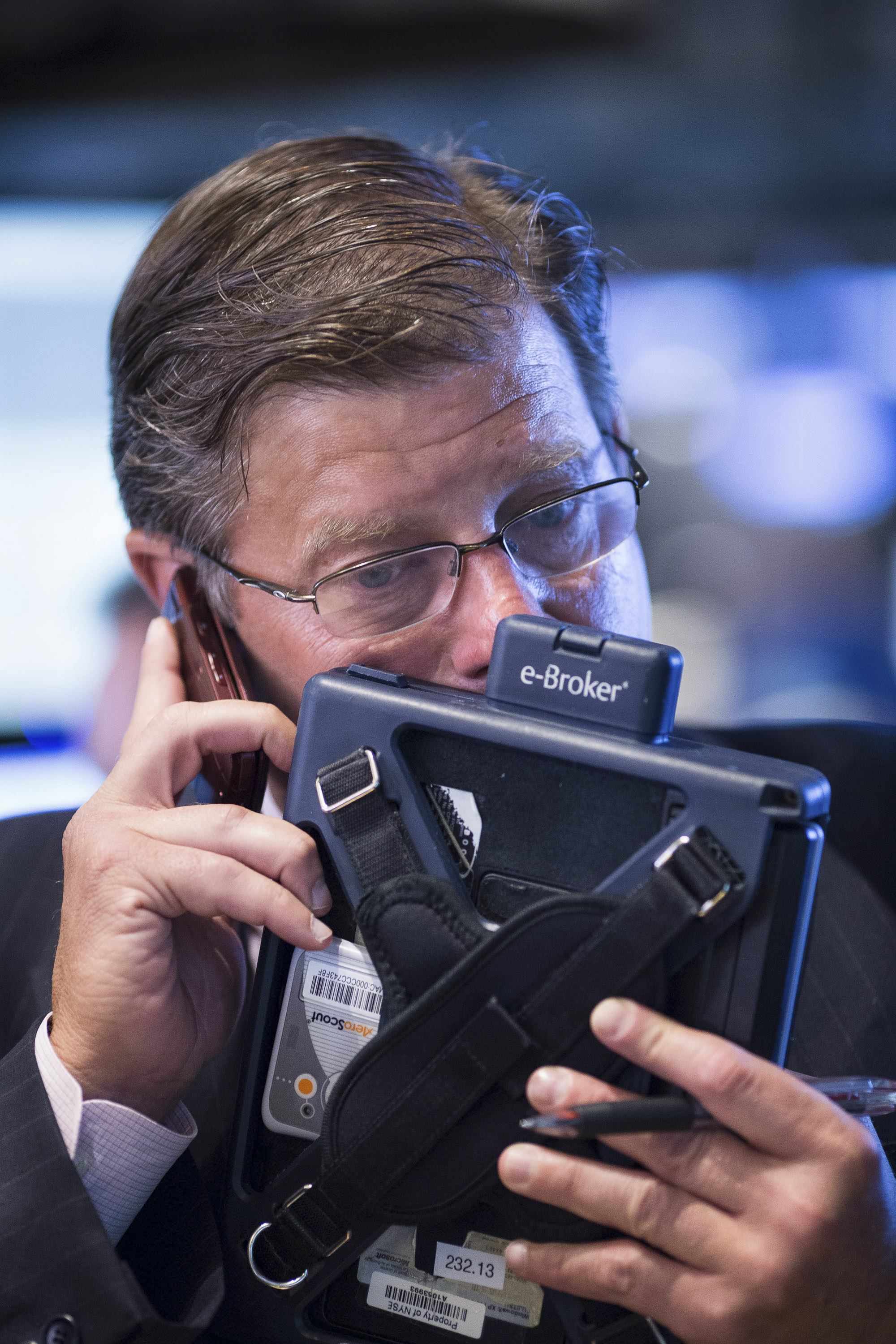 On the phone with the banks. During IPO's the floor is a chorus of muted communications punctuated by occasional loud questions about projected prices and estimated opening times.