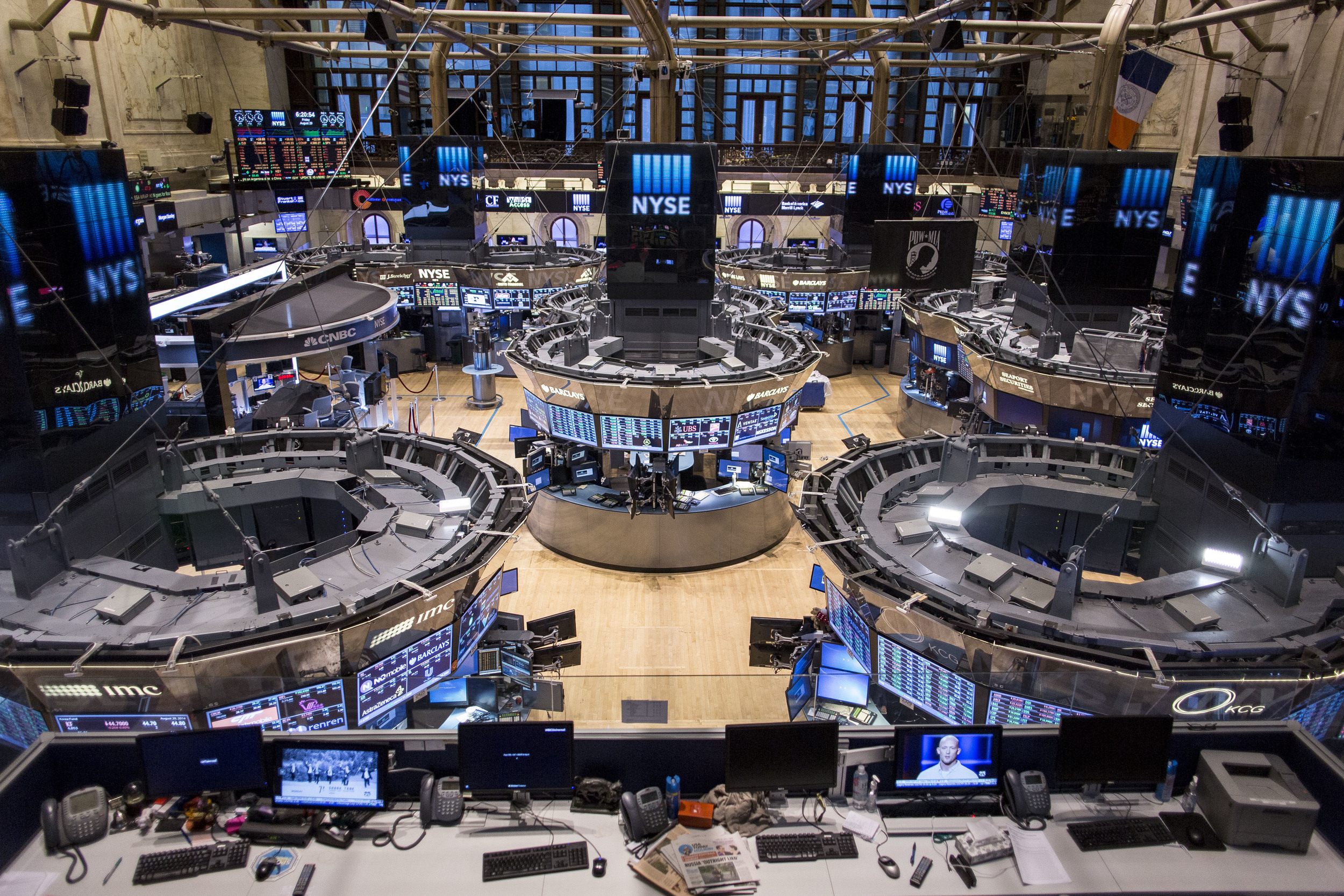 The Trading Floor, as observed from above the former CNBC media booth a few hours after the Closing Bell.