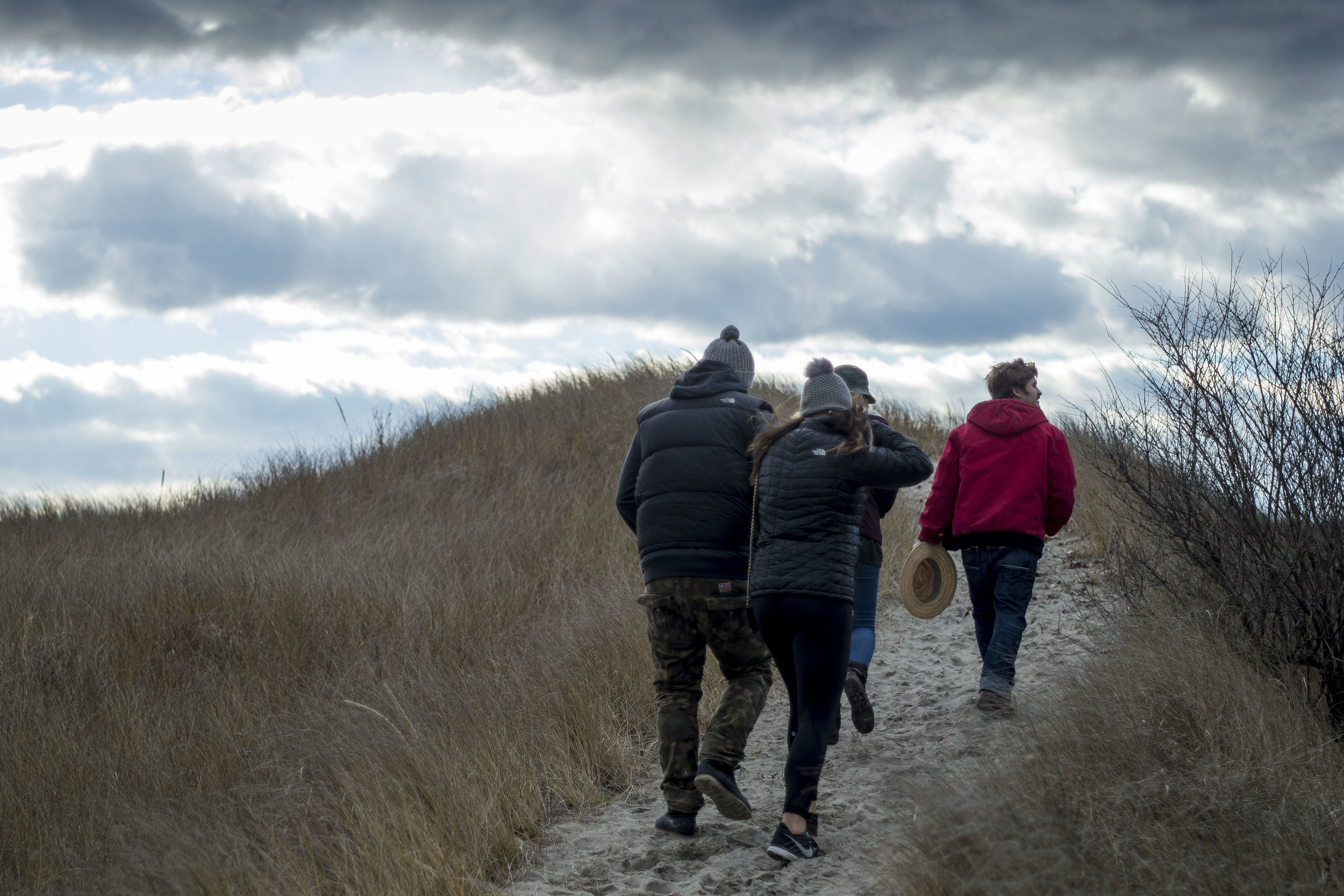Friends trekking towards Hermit Island