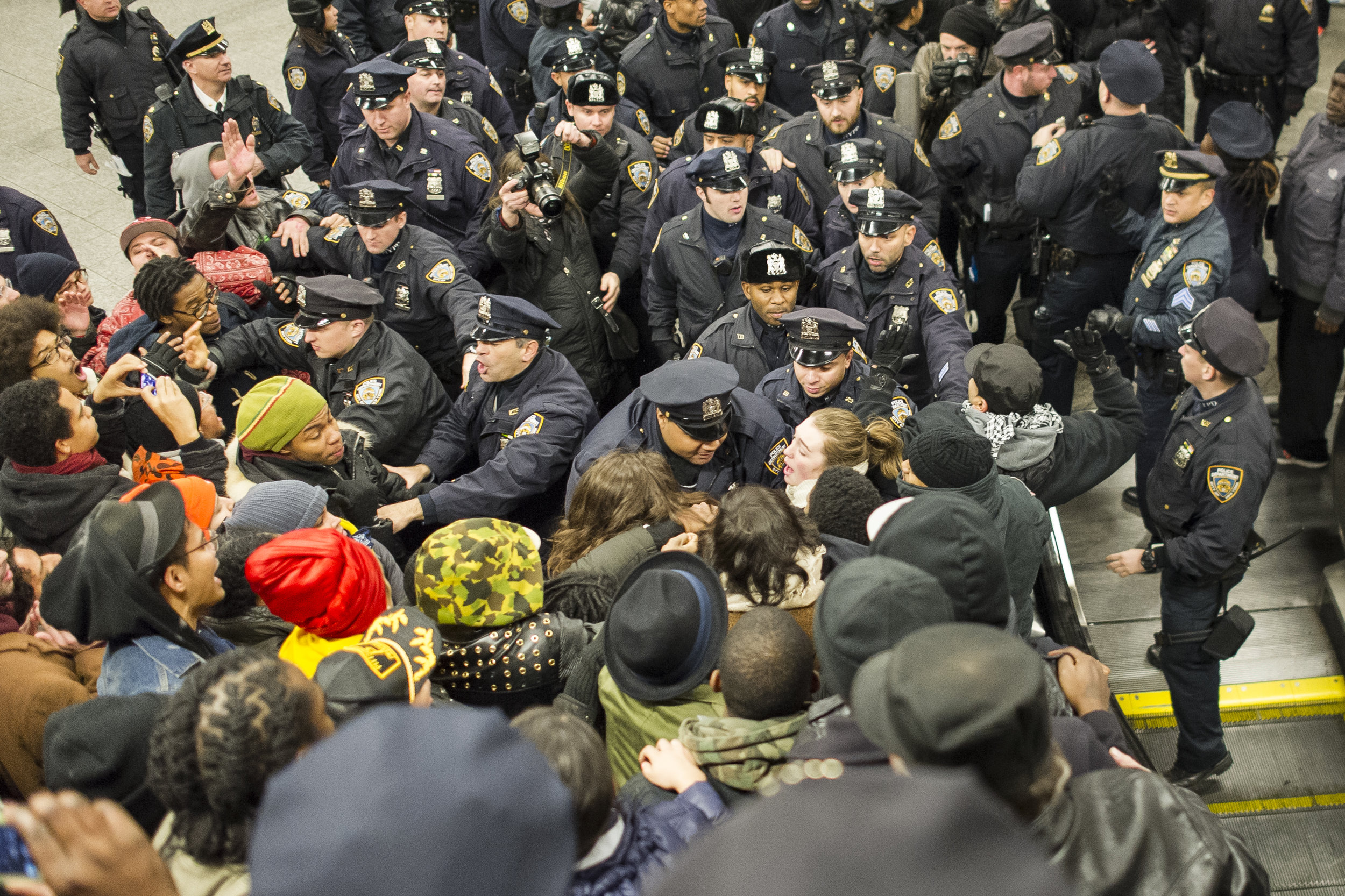 Tensions finally snap between police and protestors at the Barclays Center subway station on December 8th, 2014. Weeks of protest followed a Staten Island grand jury's decision on December 3rd 2014 not to indict Officer Daniel Pantaleo in the killing of Eric Garner.