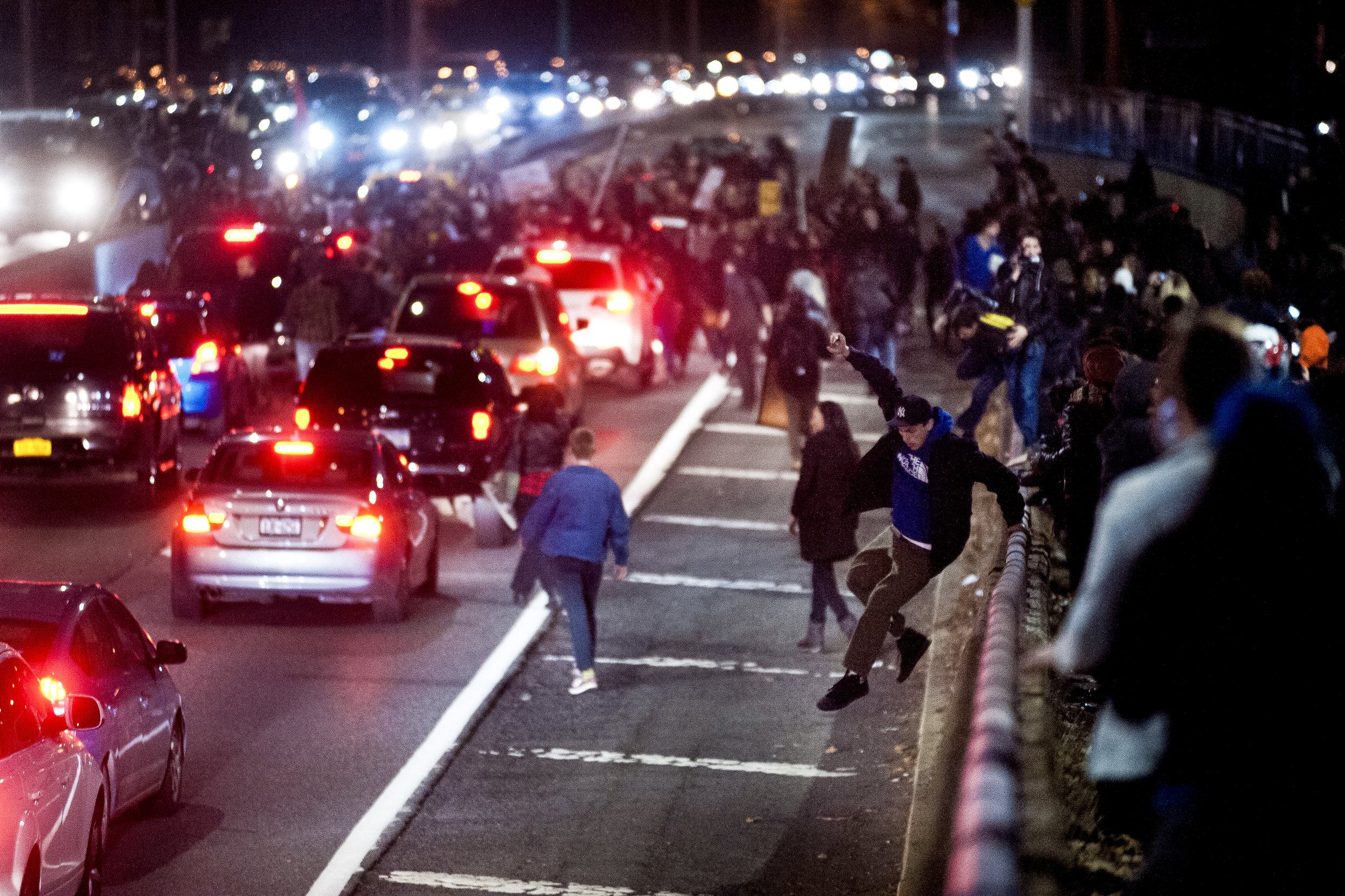 Demonstrators spill onto FDR drive at Houston street on November 25th 2014, blocking traffic in both directions in protest of a St. Louis Grand Jury decision not to indict Officer Darren Wilson.
