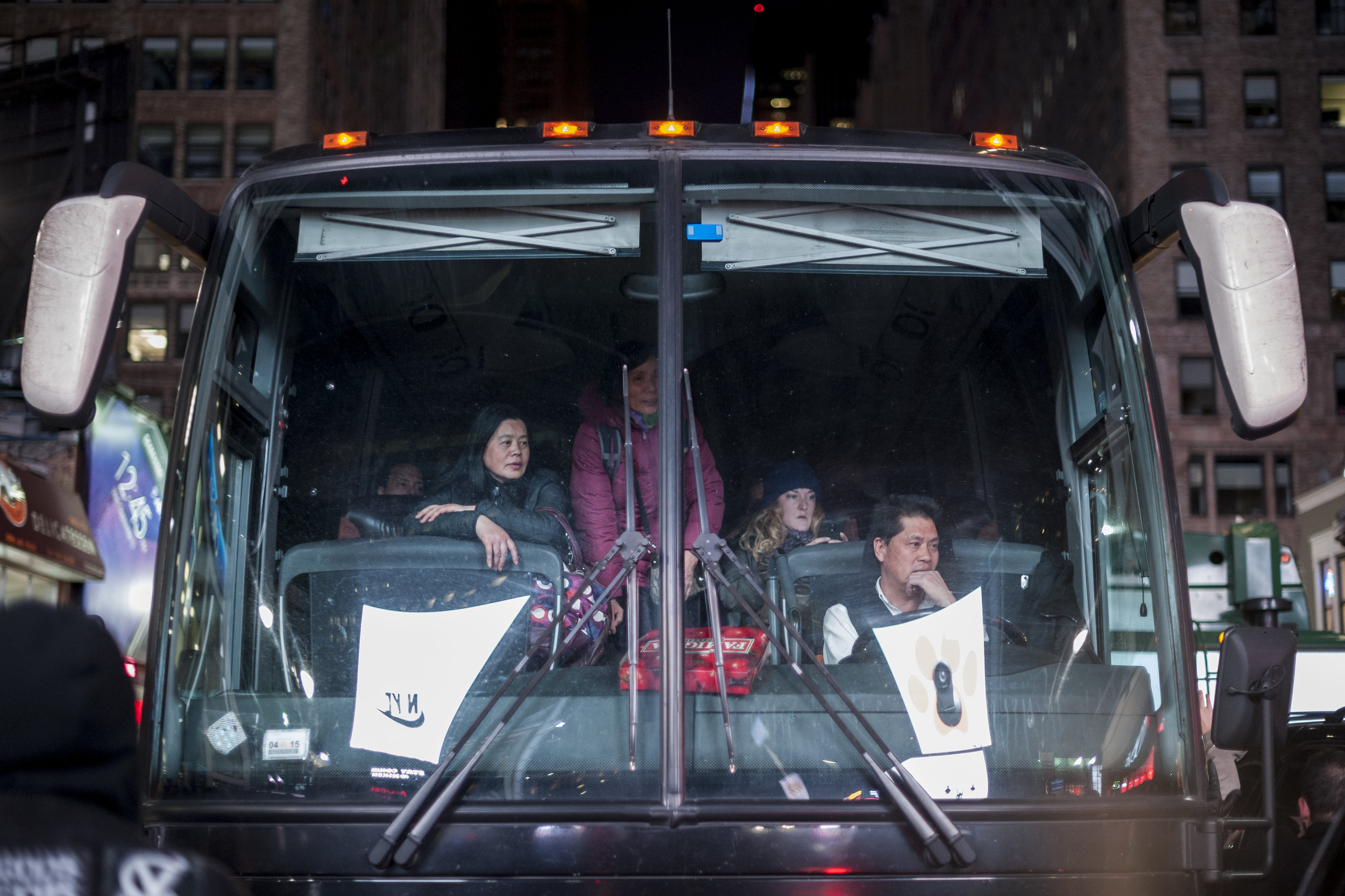 Bus passengers look on during a demonstration on December 5th, 2014. Weeks of protest followed a Staten Island grand jury's decision on December 3rd 2014 not to indict Officer Daniel Pantaleo in the killing of Eric Garner.
