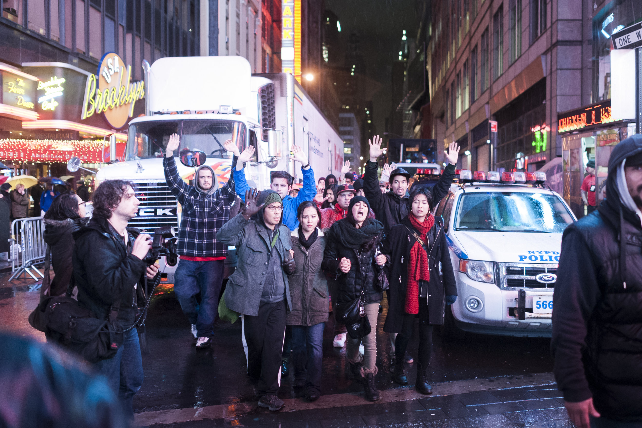 Demonstrators block traffic in Times Square on December 6, 2014. Weeks of protest followed a Staten Island grand jury's decision on December 3rd 2014 not to indict Officer Daniel Pantaleo in the killing of Eric Garner.