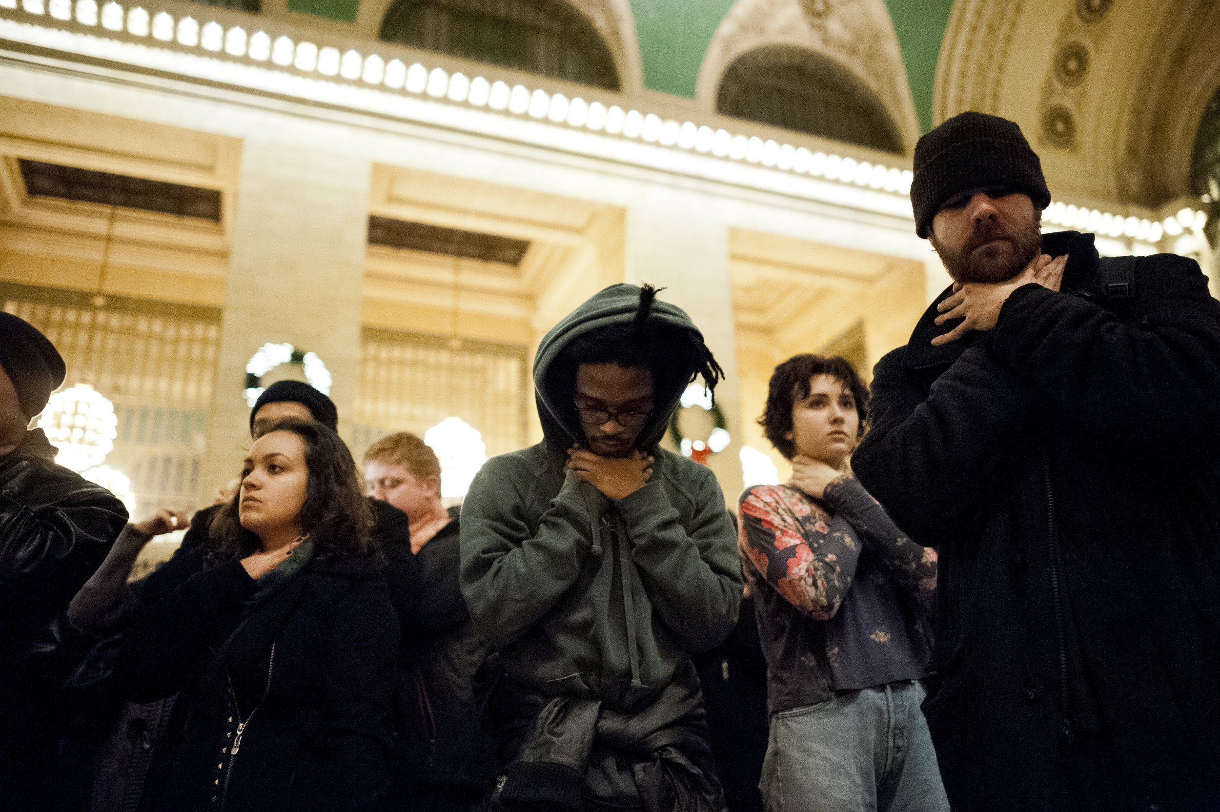 "Demonstrators re-enact the killing of Eric Garner, shouting ""I Can't Breathe!"" in the main atrium of Grand Central Station on December 6th, 2014. Weeks of protest followed a Staten Island grand jury's decision on December 3rd 2014 not to indict Officer Daniel Pantaleo in Garner's killing."