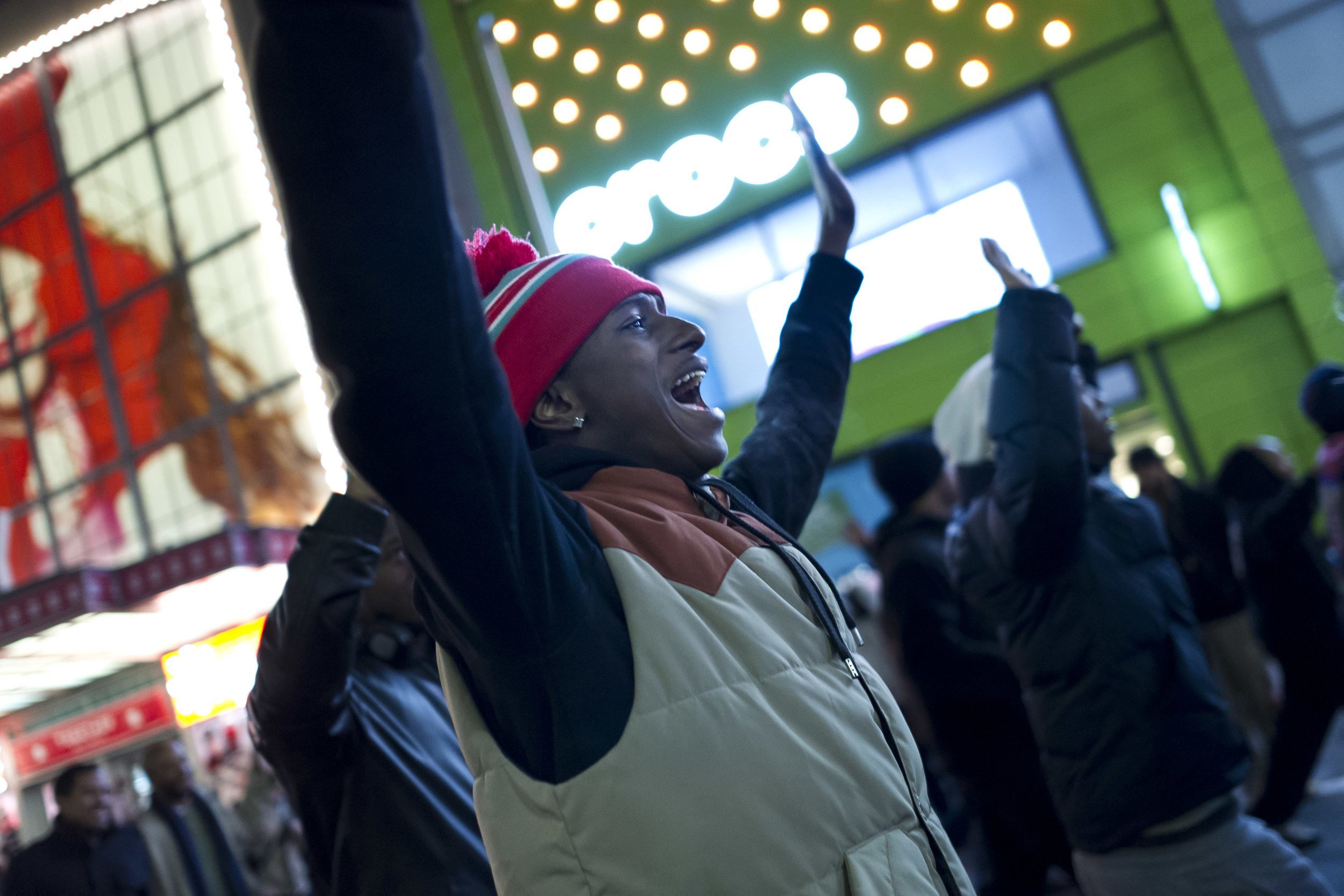 Demonstrators march on 34th street near Penn Station on December 4th, 2014. Weeks of protest followed a Staten Island grand jury's decision on December 3rd 2014 not to indict Officer Daniel Pantaleo in the killing of Eric Garner.