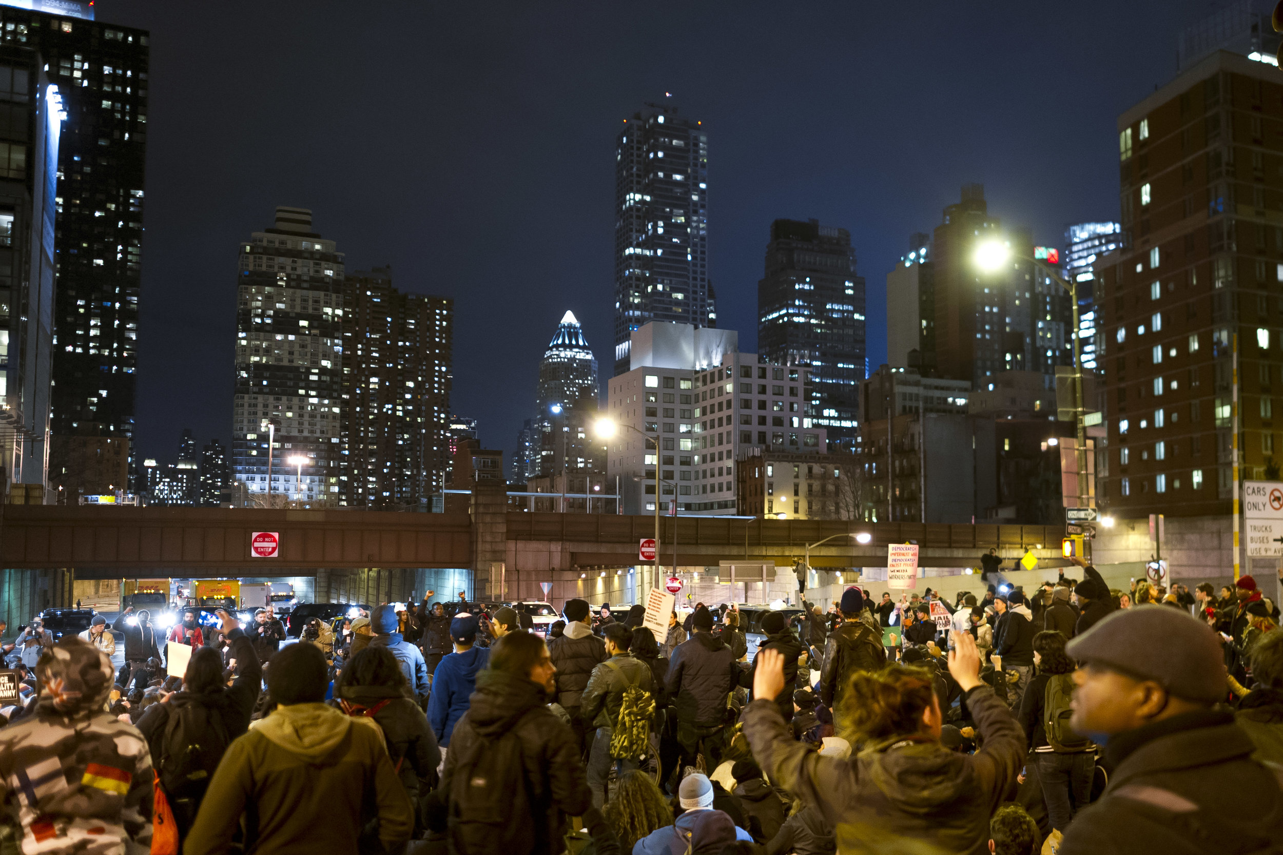 Demonstrators bring traffic at the Lincoln Tunnel entrance to a standstill on December 4th, 2014. Weeks of protest followed a Staten Island grand jury's decision on December 3rd 2014 not to indict Officer Daniel Pantaleo in the killing of Eric Garner.