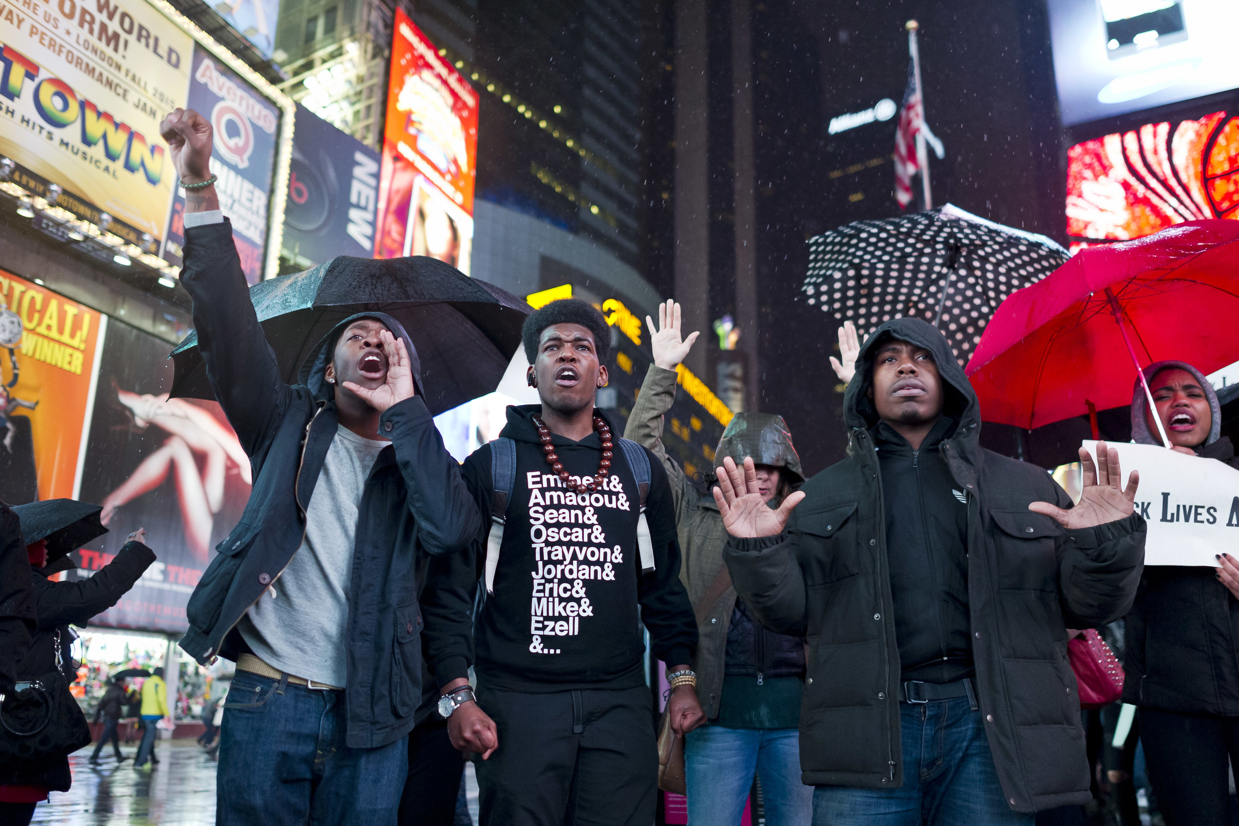 Demonstrators gather in the rain in the middle of Times Square on December 6th, 2014. Weeks of protest followed a Staten Island grand jury's decision on December 3rd 2014 not to indict Officer Daniel Pantaleo in the killing of Eric Garner.