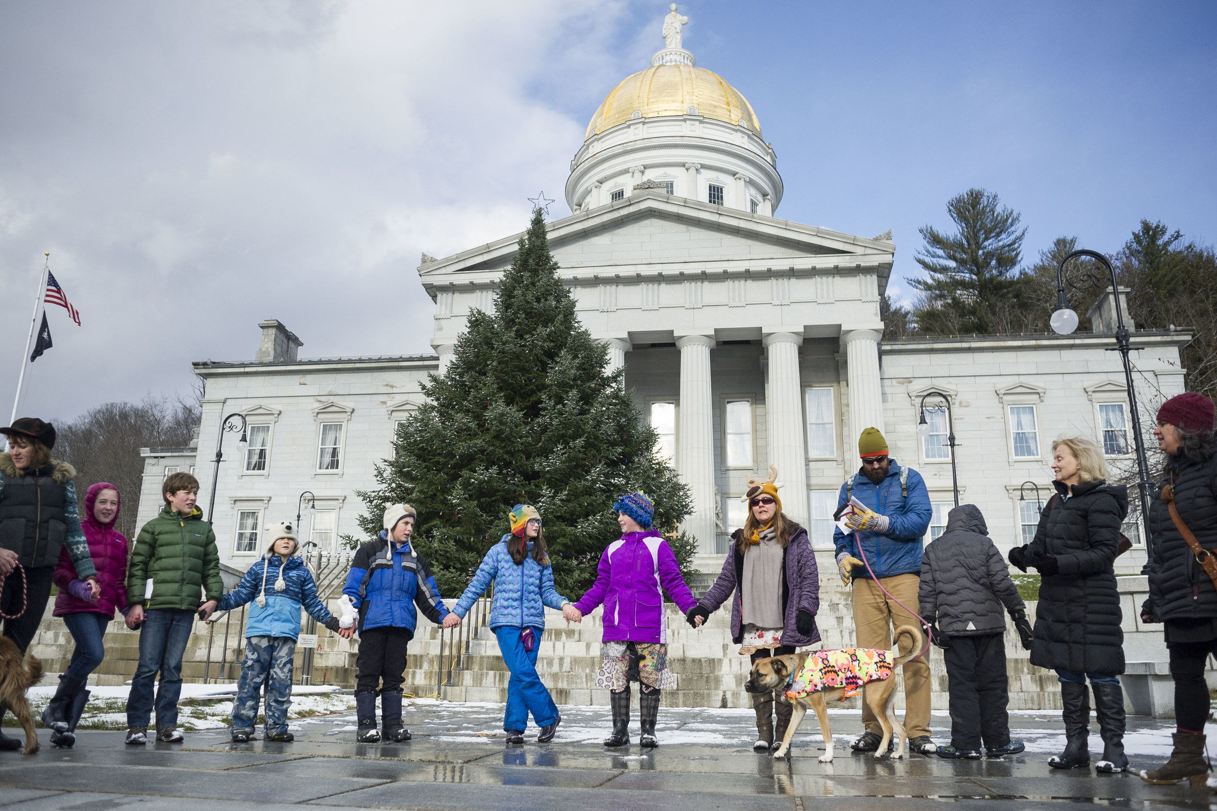 Elementary school students from Montpelier and Calais march from the Kellogg-Hubbard Library down State Street to the State House on Sunday, December 10th 2017. Students were protesting possible resource exploitation of the Alaskan Arctic National Wildlife Refuge included in the U.S. Senate tax bill.