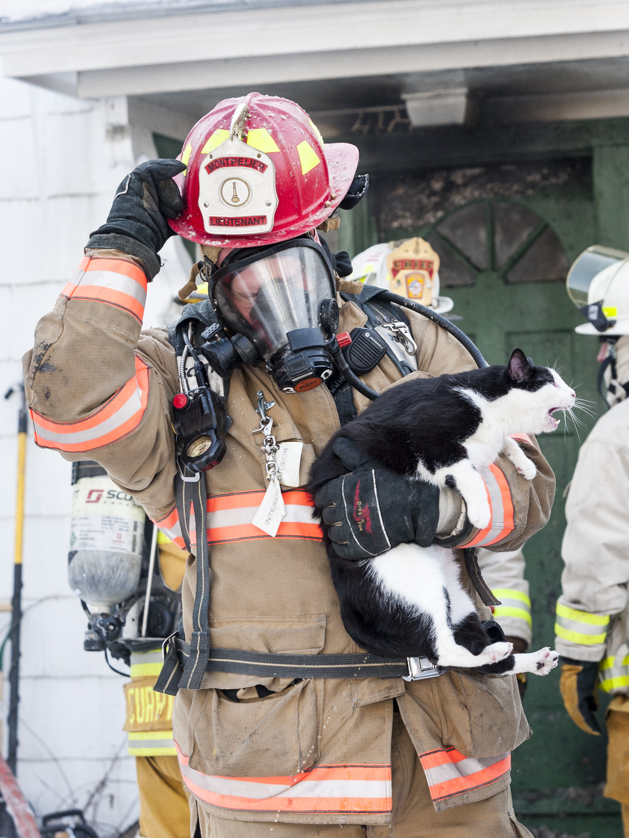 A Montpelier firefighter emerges from a house fire on Main Street with a frightened cat on Tuesday, January 2nd 2018. All tenants were evacuated safely but several pets did not survive.