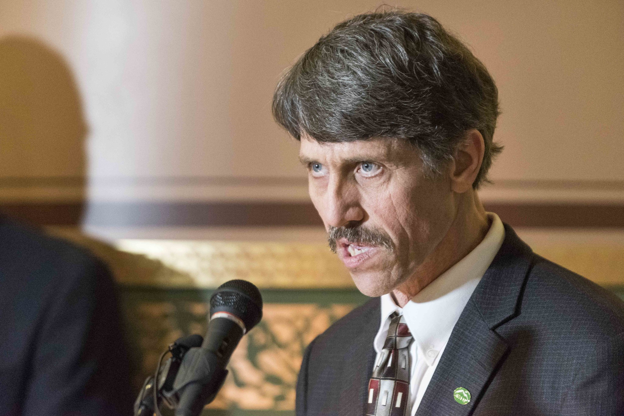 "Senator John Rodgers (D-Essex-Orleans) urges Governor Phil Scott to ""fulfill his campaign promises"" and veto the gun control measures in S.55 during a presser at the State House in Montpelier on April 10th, 2018. Rodgers also apologized for his remarks on the floor the previous week, saying it was not his intention to be divisive."