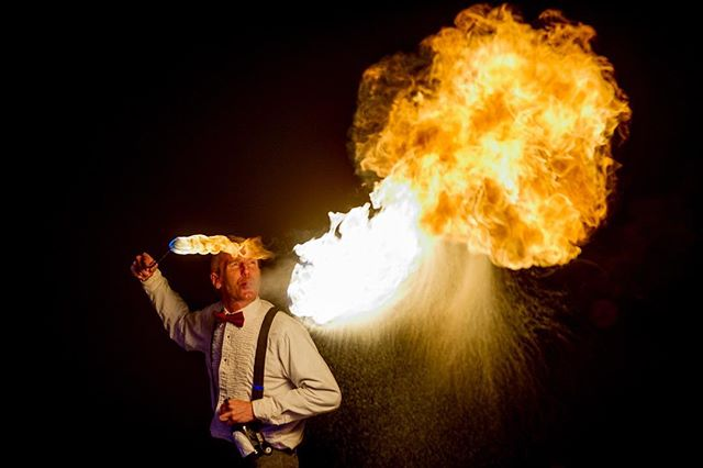 @cirquedefuego literally spitting fire at the Waterbury River of Light festival. (On assignment for the Times Argus) #vermont #firebreathing #winter #nikon #photojournalism #fire #waterburyvt