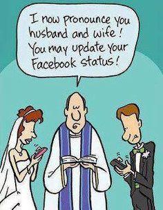 wedding Facebook status joke
