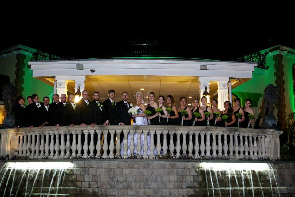 A bad night shot of a wedding bridal party