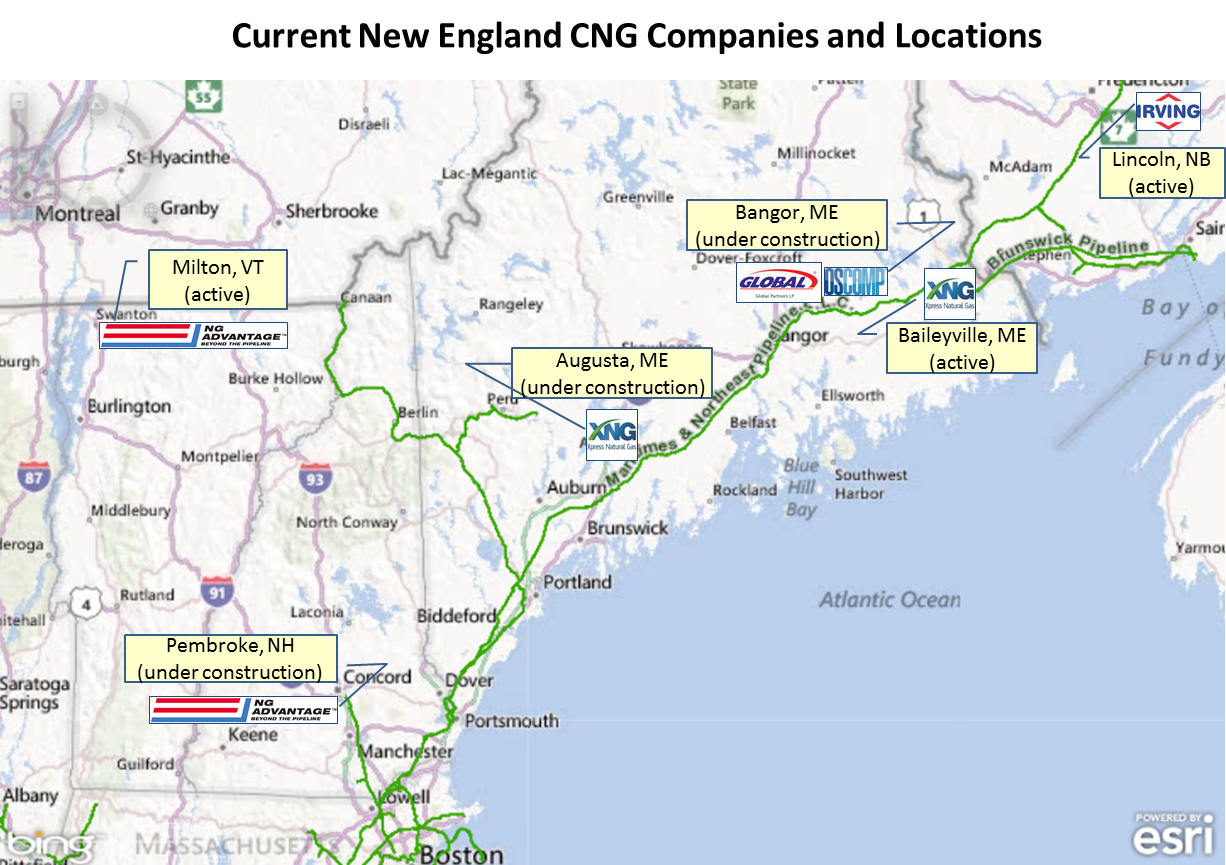Base map from SNL Energy. Interstate natural gas pipelines shown in green. CNG compression facility locations are approximate.