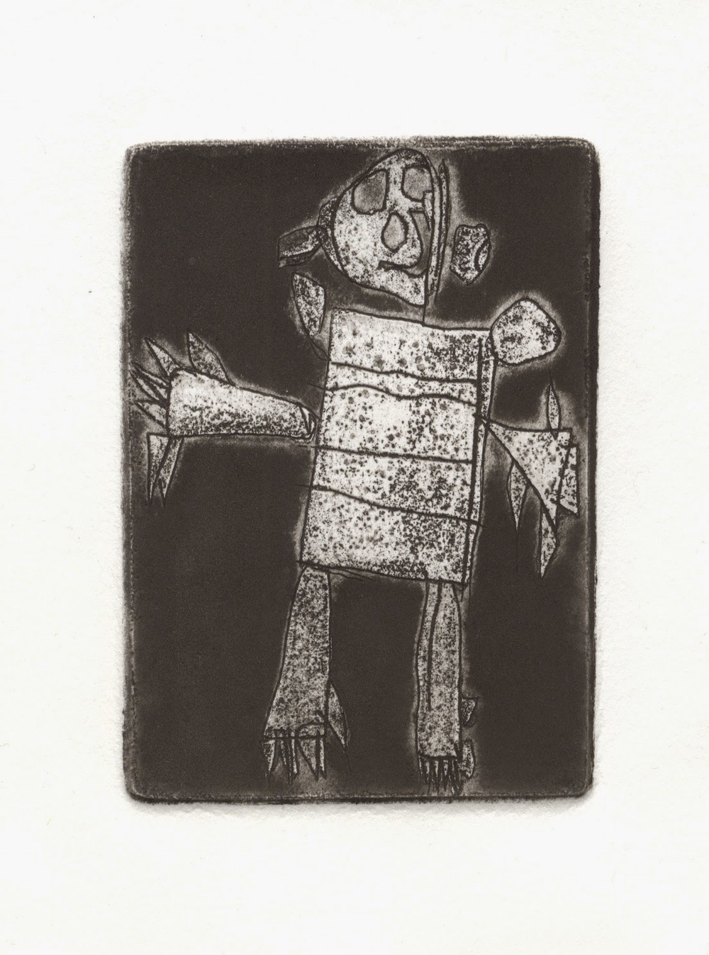 "'X-Ray Mommy', etching on paper, 2"" x 3"", 2014.     Looking for a Christmas Gift for the budding printmaker in your life? Why not consider a class or workshop at  Martha Street Studio ?   Starting January 13th, I'll be teaching...  INTRO TO ZINC ETCHING  w/Peter Graham Wednesdays, 6-9pm January 13 - March 2 (8 weeks)  $250 (+ MPA membership) Zinc plates are etched rapidly in a bath of Copper Sulphate and water producing crisp lines. Zinc can be etched deeply for viscosity printing and blind embossing effects and can yield interesting textural results not possible with copper etching. Come learn these basic techniques of etching on zinc plate. No prior etching experience required.  Peter Graham is our studio tech. He's a painter/printmaker, and must only be fed low sodium, low fat treats.  Contact the friendly folks in the office at 204 779 6253 or by email printmakers@mymts.net to register."