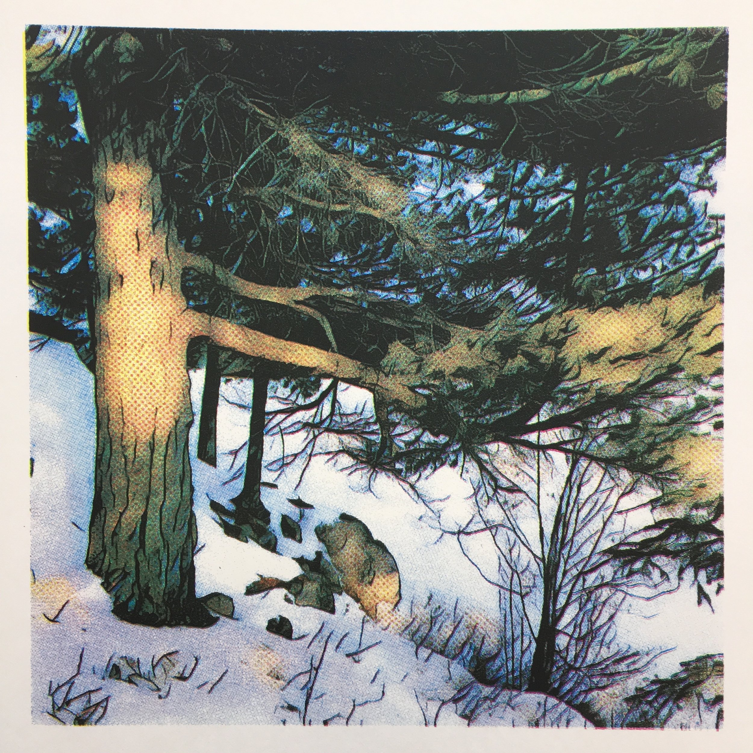 """Picnic Island - Winter"", Peter Graham, screen print on paper, 8"" x 8"", edition of 10, 2018. $150"