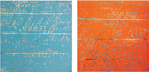 "Dots #3 and 4 (diptych), 2015 Acrylic and mixed media on board, 12"" x 12"" ea."