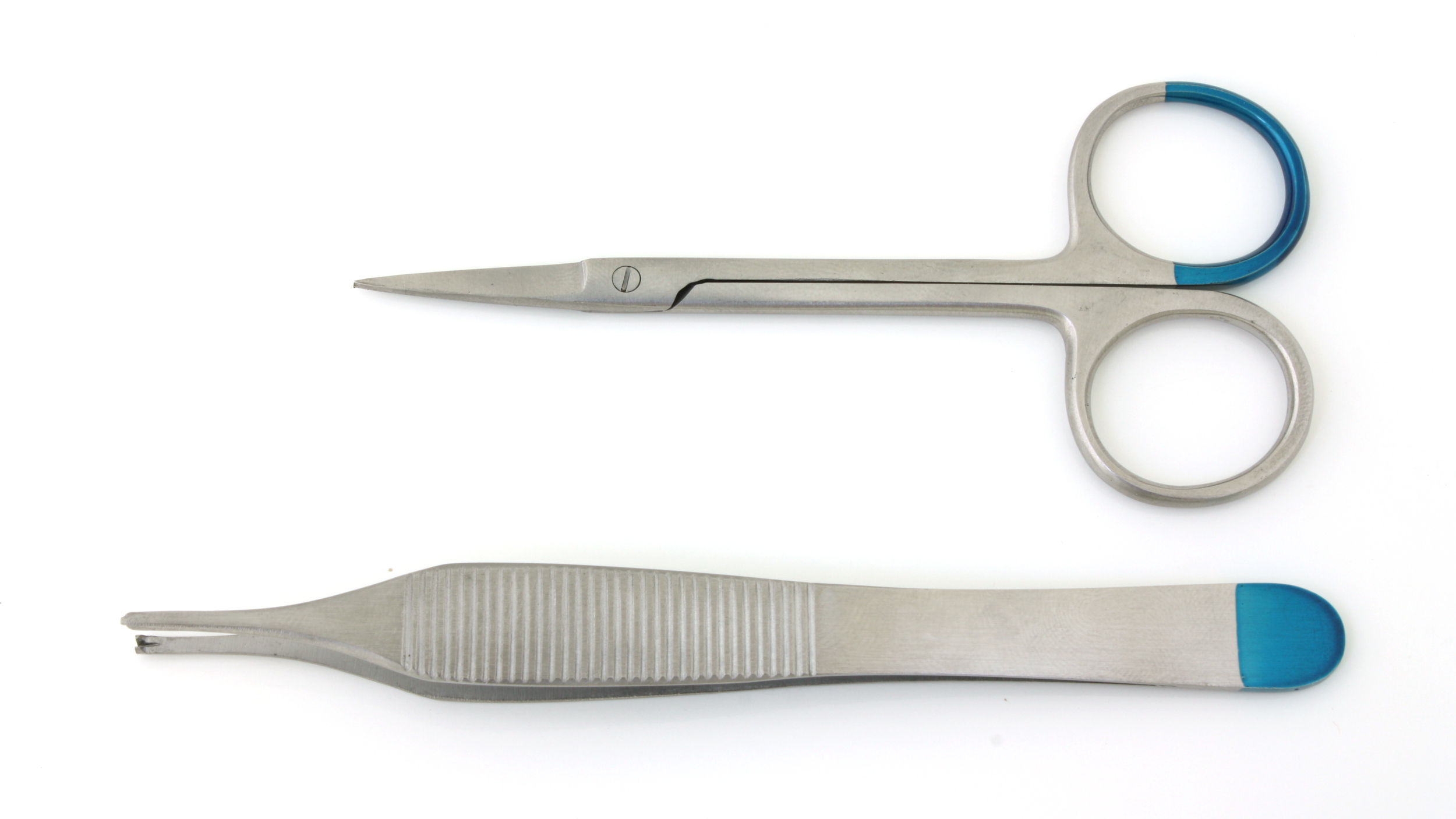 Disposable biopt set:   1 Iris schaar recht 90mm  1 Adson chirurgische pincet 1x2 tanden 12cm