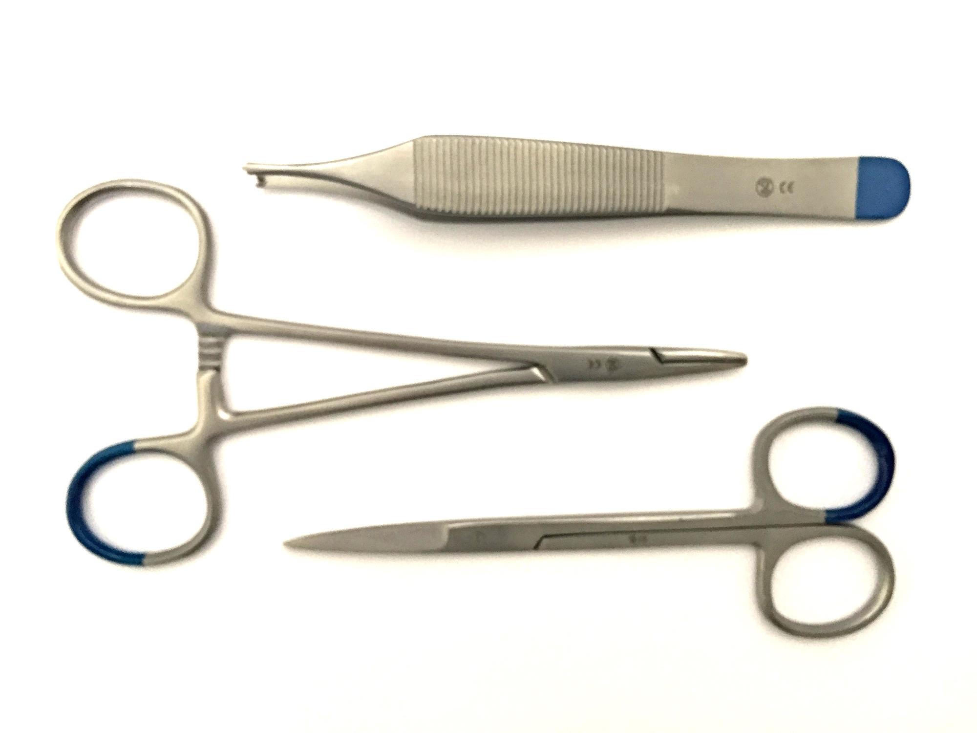 Disposable hechtset SEH fijn   1 Adson chirurgische pincet 1 x 2 tanden 12cm  1 Iris & ligatuur schaar 11cm  1 Halsey naaldvoer gladde bek  1 Hardblister