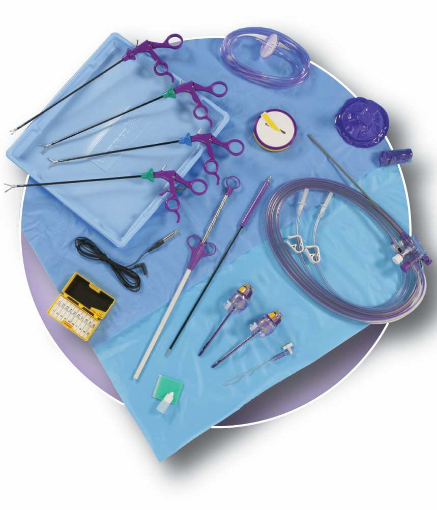 PS0522 Laparoscopic Procedure Kit-Advanced   1 x Ultimate Standard length 33cm Monopolar Scissors Metzenbaum Jaw, 5mm rotating  1 x Ultimate Standard length 33cm Maryland Dissecting Forceps 5mm rotating  1 x Ultimate Standard length 33cm LapClinch with Ratchet 5mm rotating  1 x Ultimate Standard length 33cm LapClinch without Ratchet 5mm  1 x Ultimate Dual spike, tubing, handpiece with instrument seal & 5mm shaft  1 x Insufflation Filter & Tubing Set with Luer Lok fitting  1 x Camera Sleeve  1 x Fog Free Solution  1 x Soft Tip Blunt Dissector  1 x 8mm Connector for Monopolar Cable  2 x Ultimate AutoShield Trocar 5mm x 100mm  1 x Sharps Saftey Station, magnet/foam block med  1 x Ultimate Endo-Retrieval Pouch  1 x Veress Needle 120mm  2 x Light Handle Cover