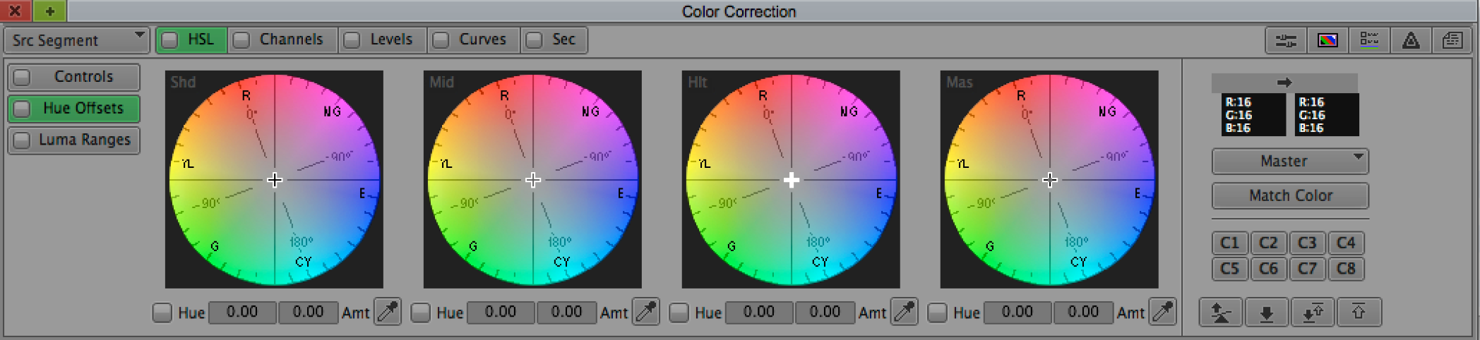 This is the  Symphony  Color Correction window.