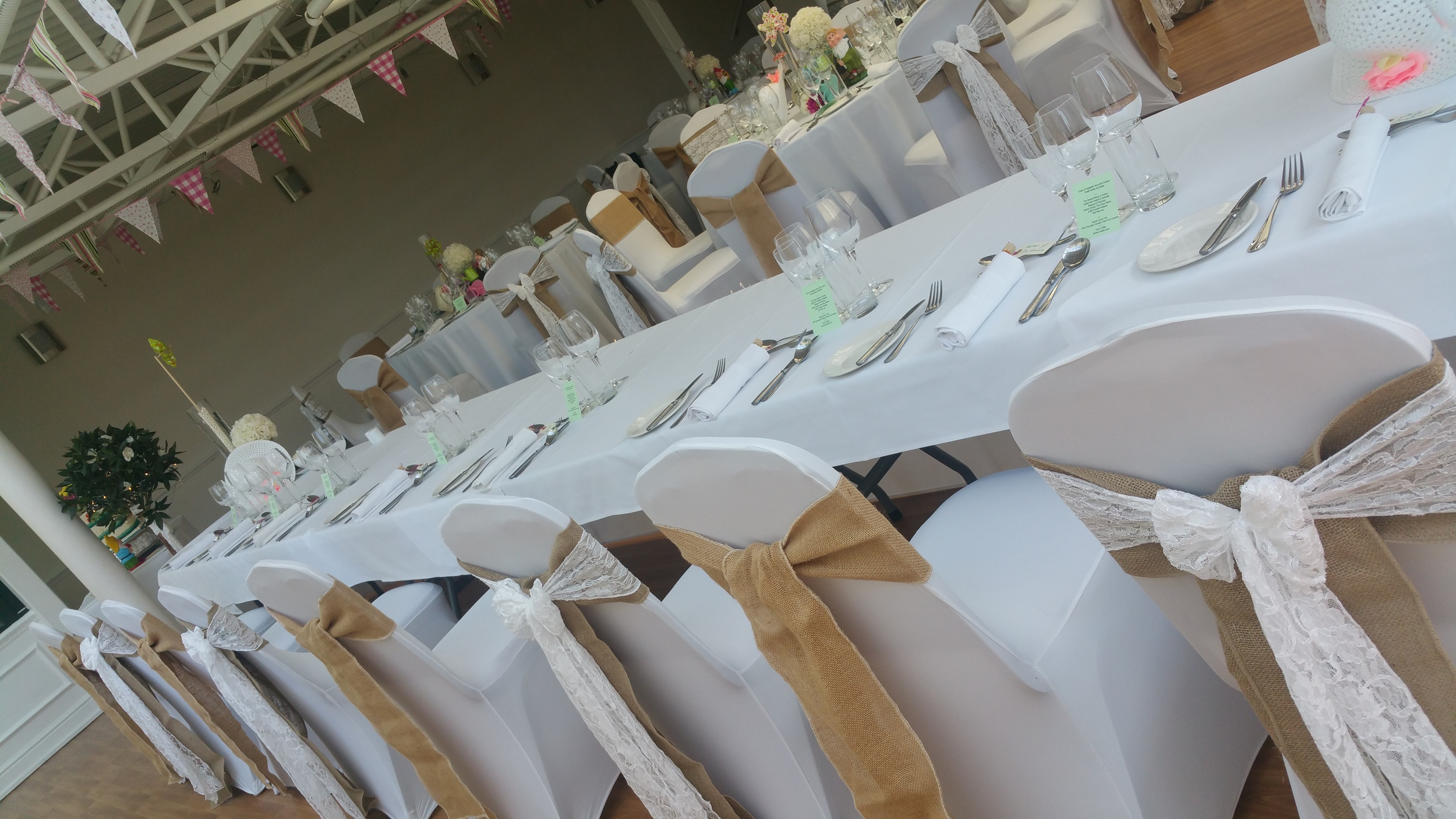 hessian and lace chaircovers on the wirral at ness gardens