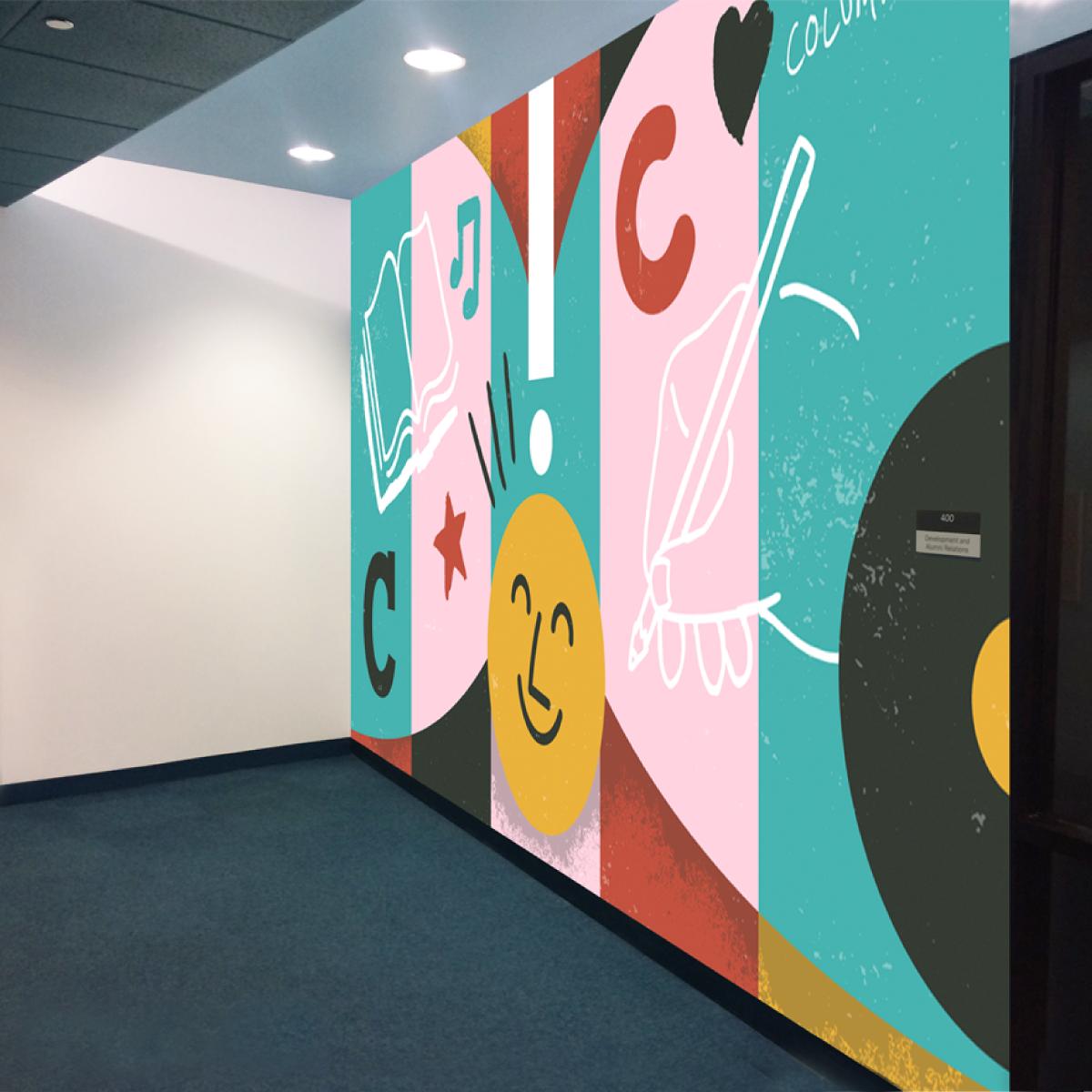 Development and Alumni Relations office interior mural concept