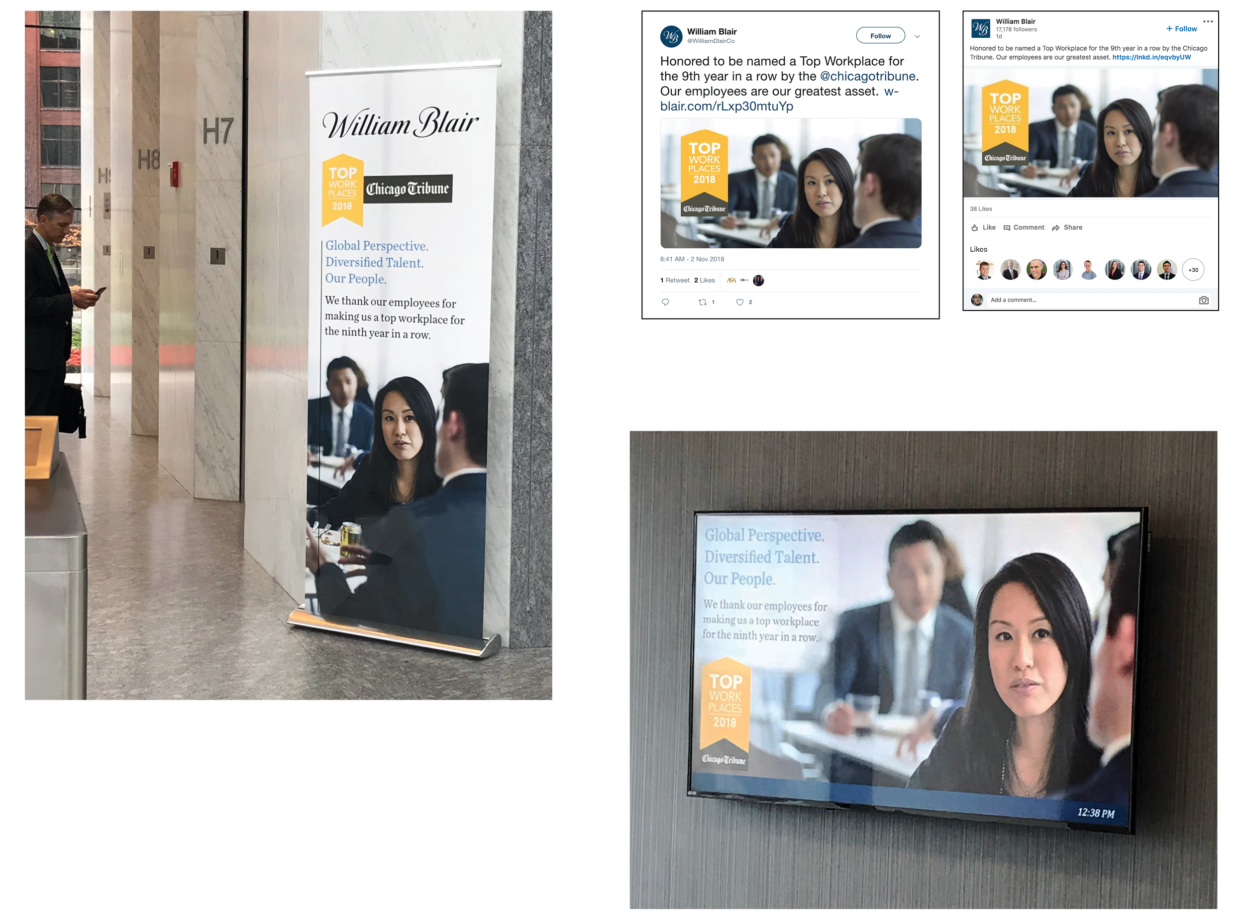 Chicago Tribune  Top Workplaces 2018 print signage, social media, and digital display