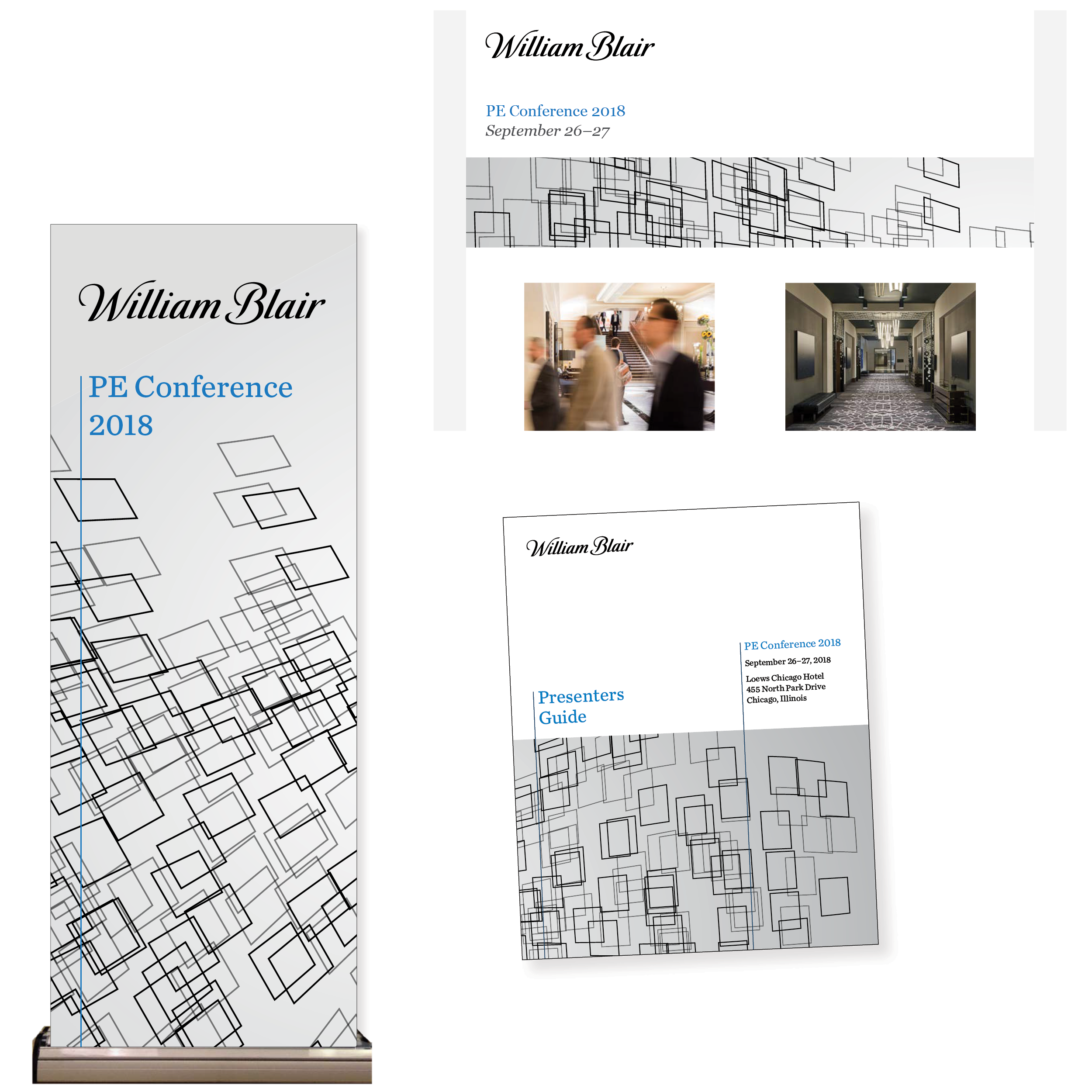 "Initial conceptual mock-ups for banners, email headers, and print publications (the overlapping shapes imply ""connections"" and complements the grids and patterns of the venue's interior design)"
