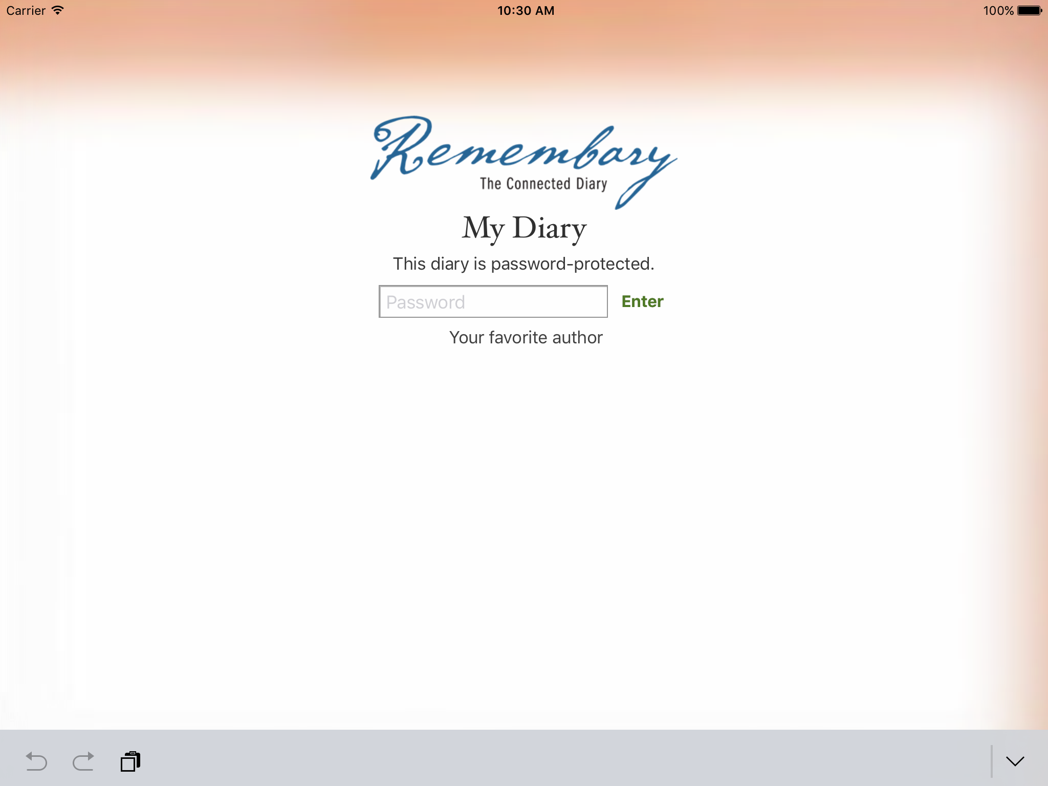 Remembary 3's new translucent cover page, showing a password hint.