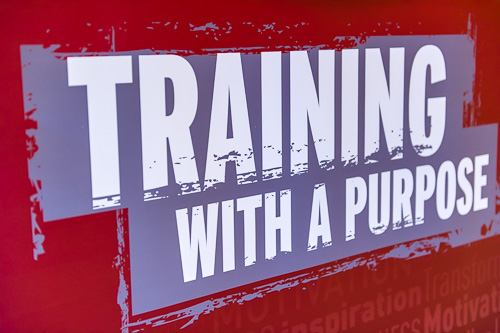 Training with a purpose sign.