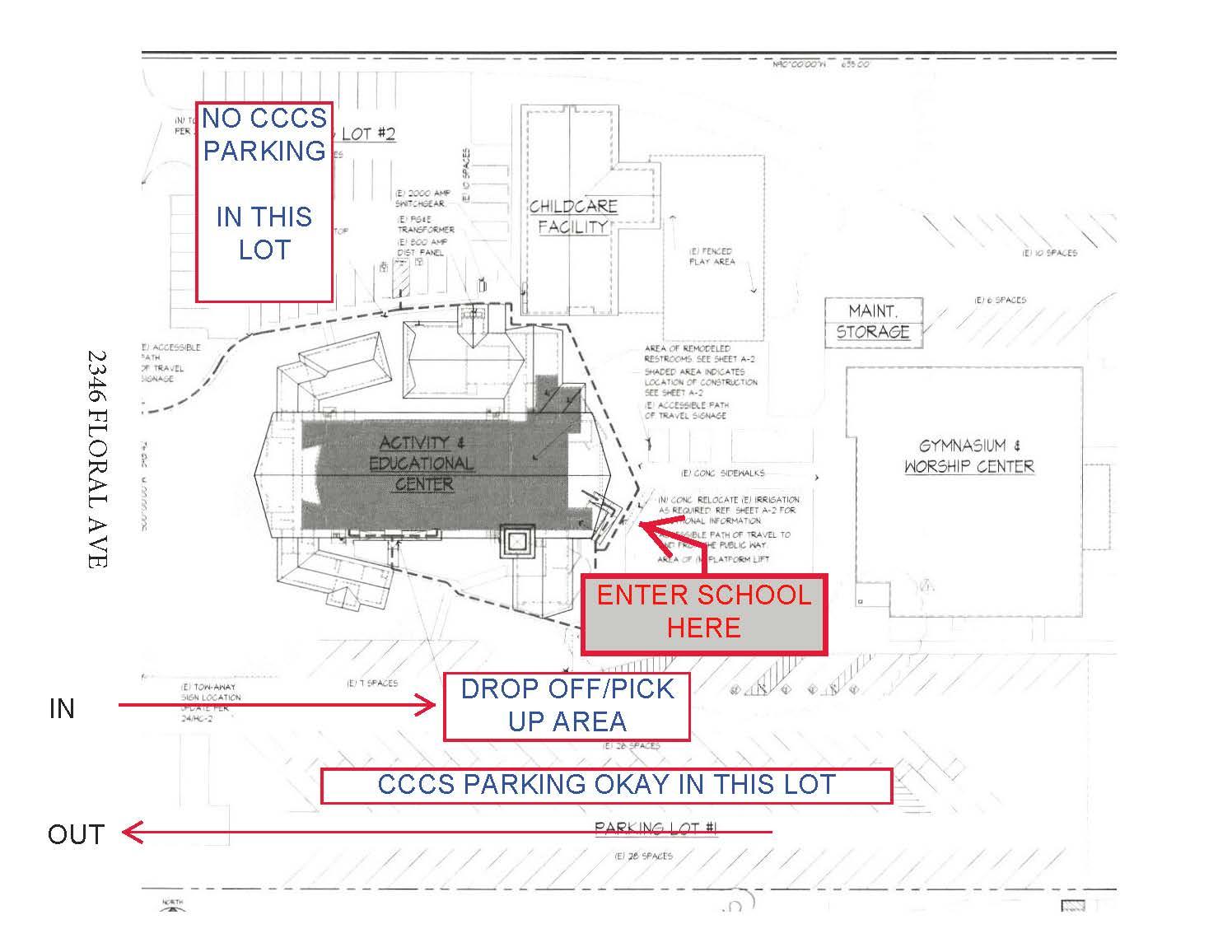 CCCS Parking Map at Grace Community Church