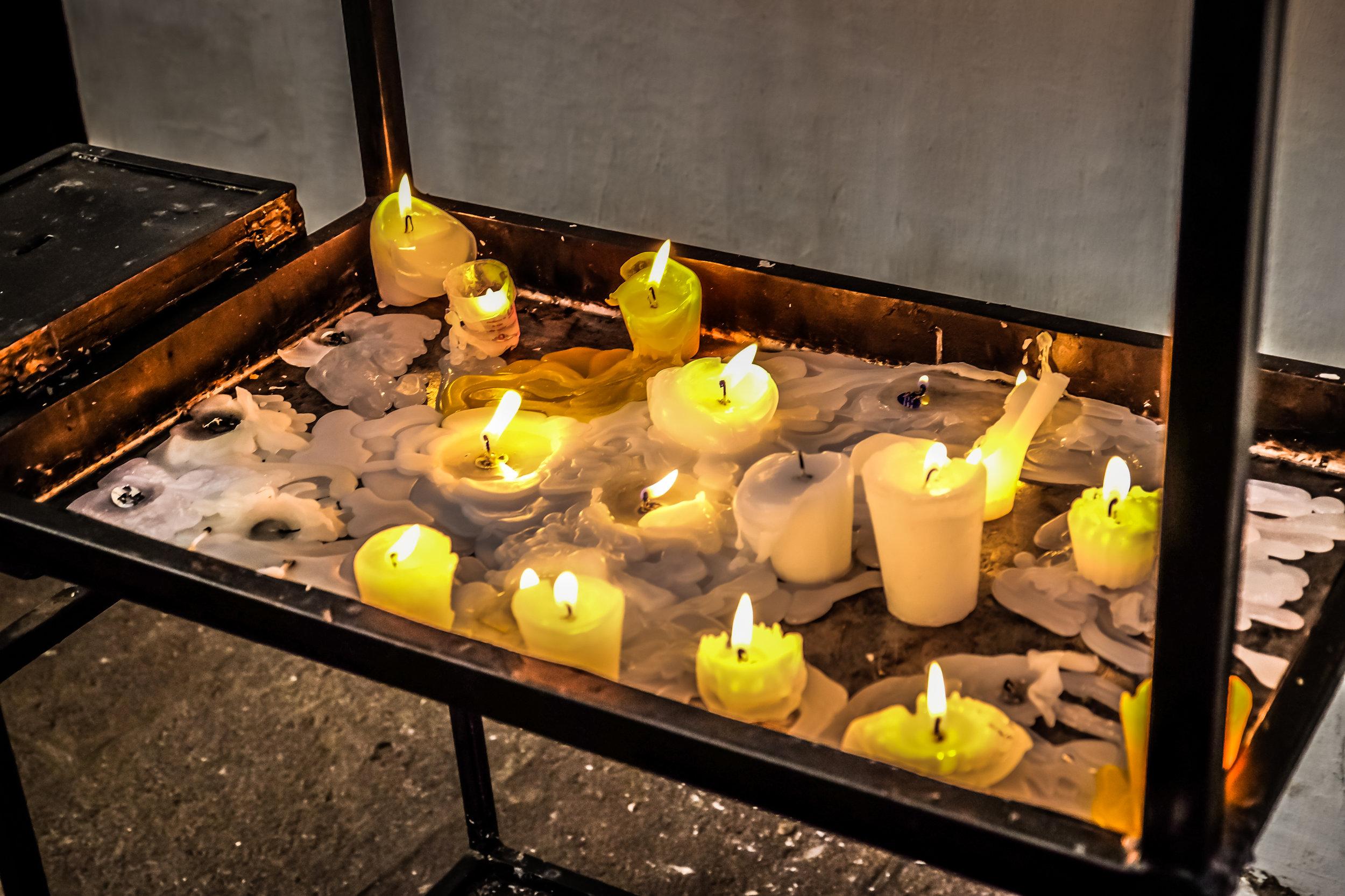 Votive candles, La Merced Iglesia y Monasterio, Antigua, Guatemala