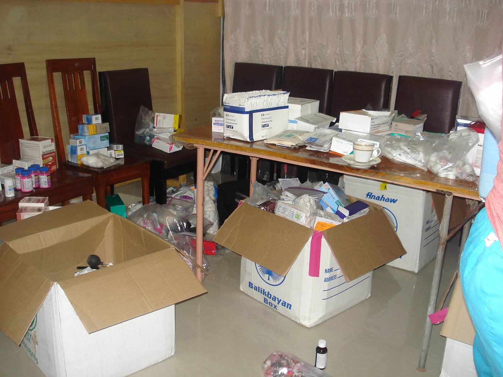Sorting and packing supplies is a daily project.