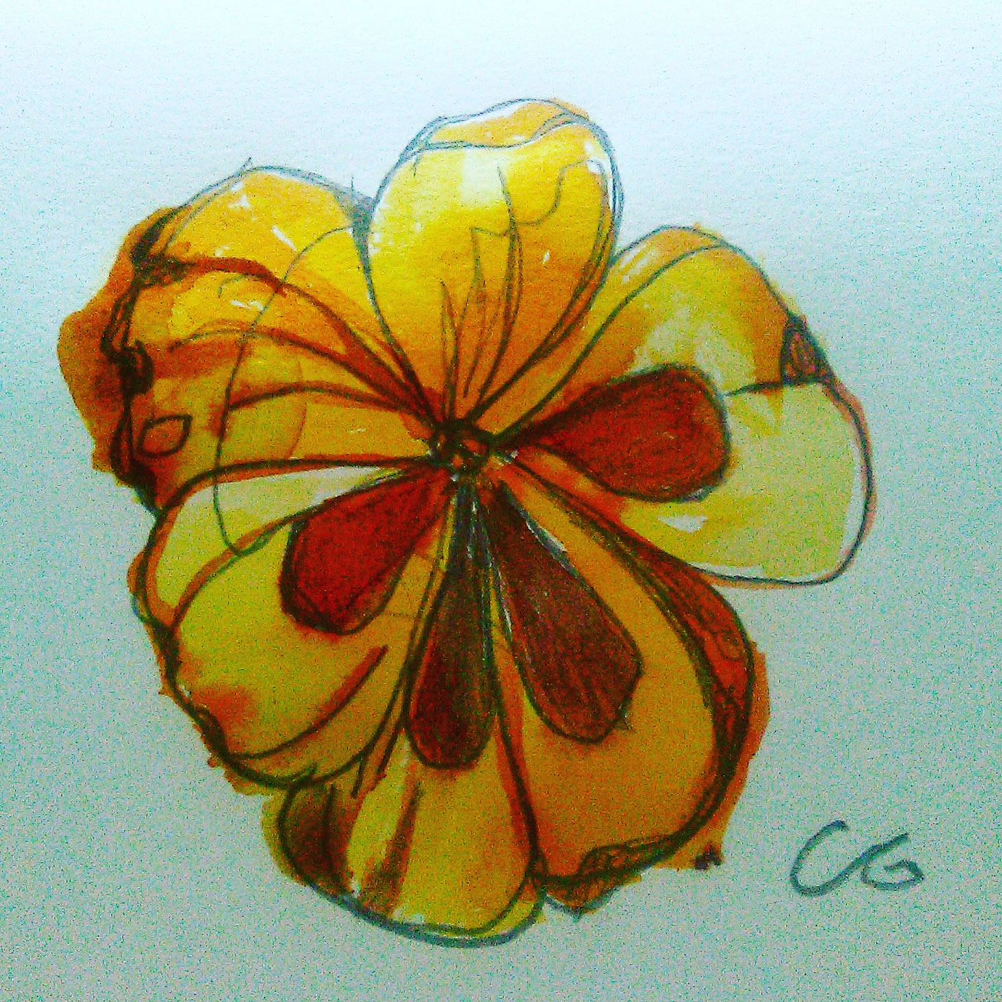 Title: Pansy on plate or plant 2018  Plant based dyes on recycled paper