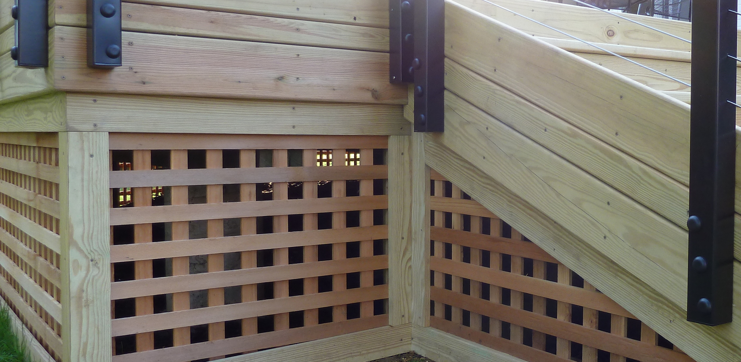 Notice how the deck lattice work creates a truly finished look to your deck.  No unsightly holes.  No dark spaces.  A beautifully finished deck that only enhances the beauty of your home.  This deck looks great not only from your home, but also your yard!