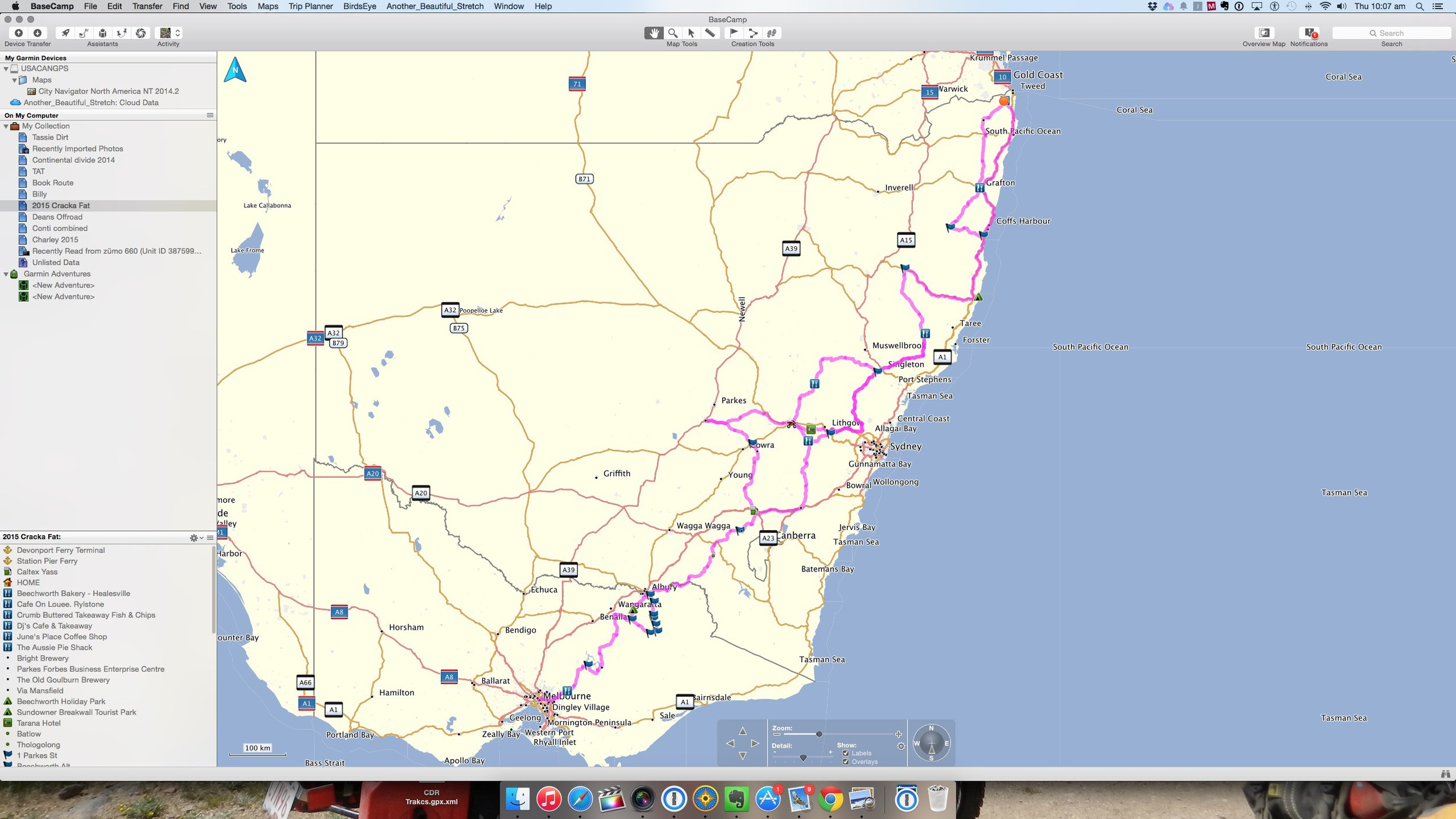 The route as planned. Subject to many changes.